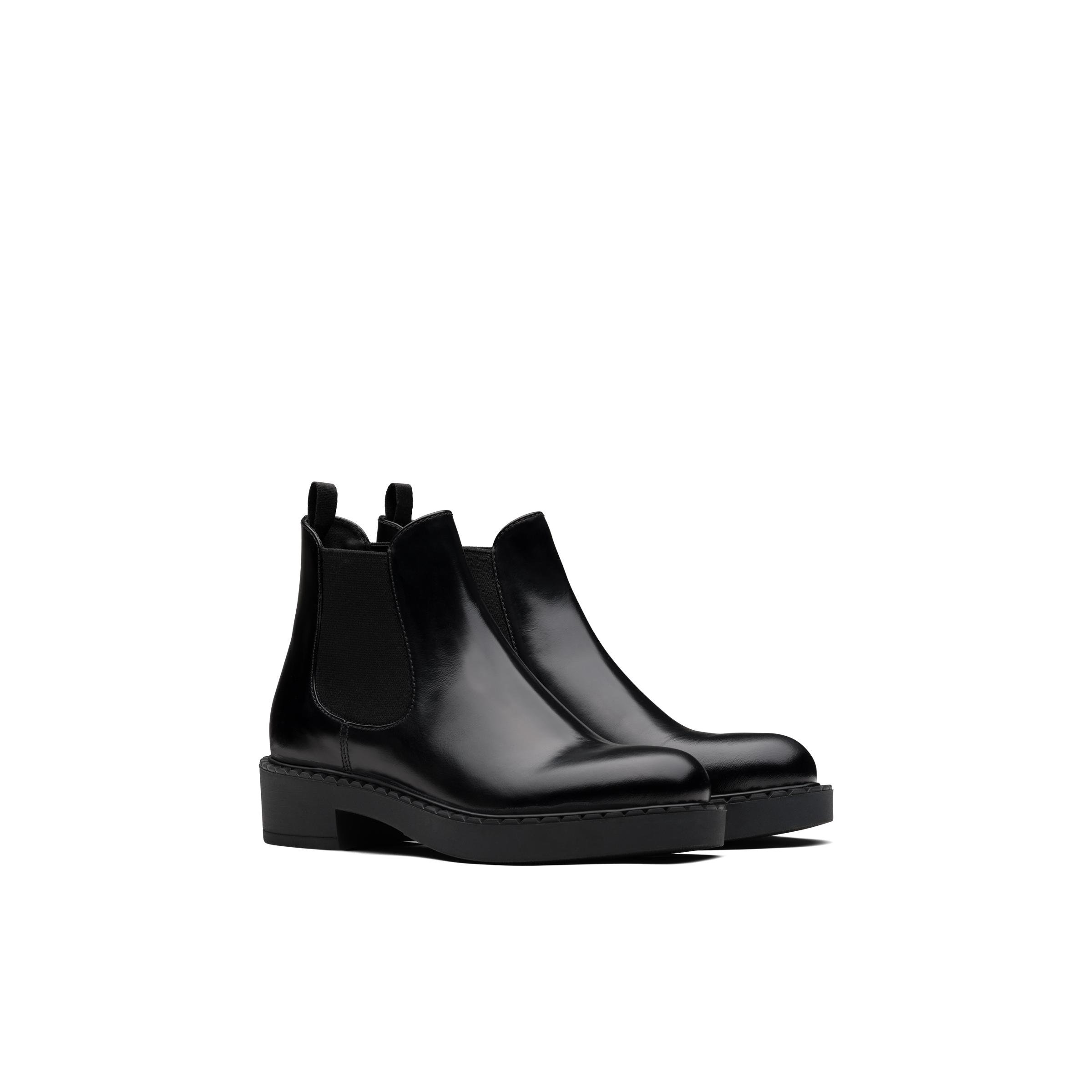 Brushed Calf Leather Booties Women Black