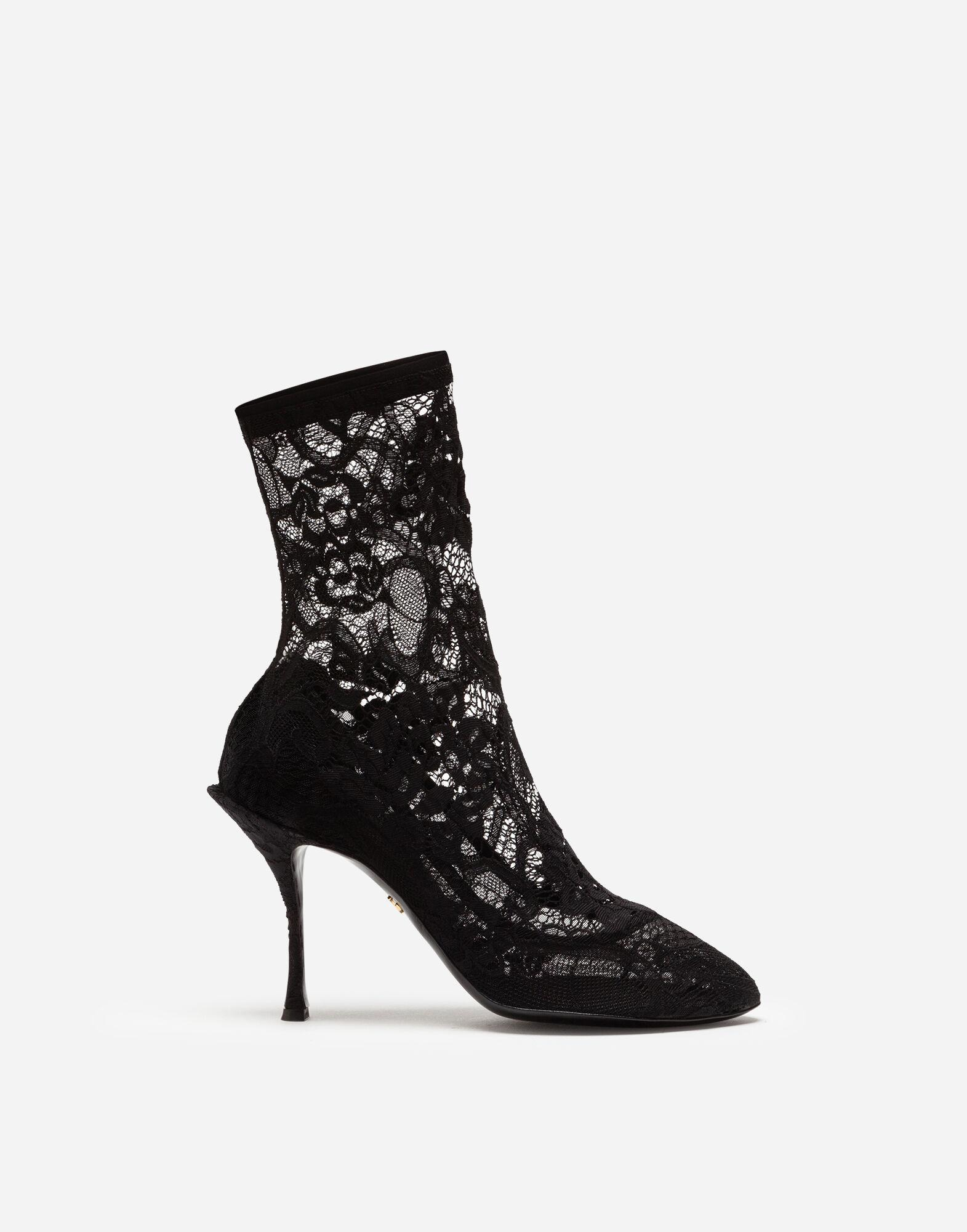 Stretch lace and gros grain booties