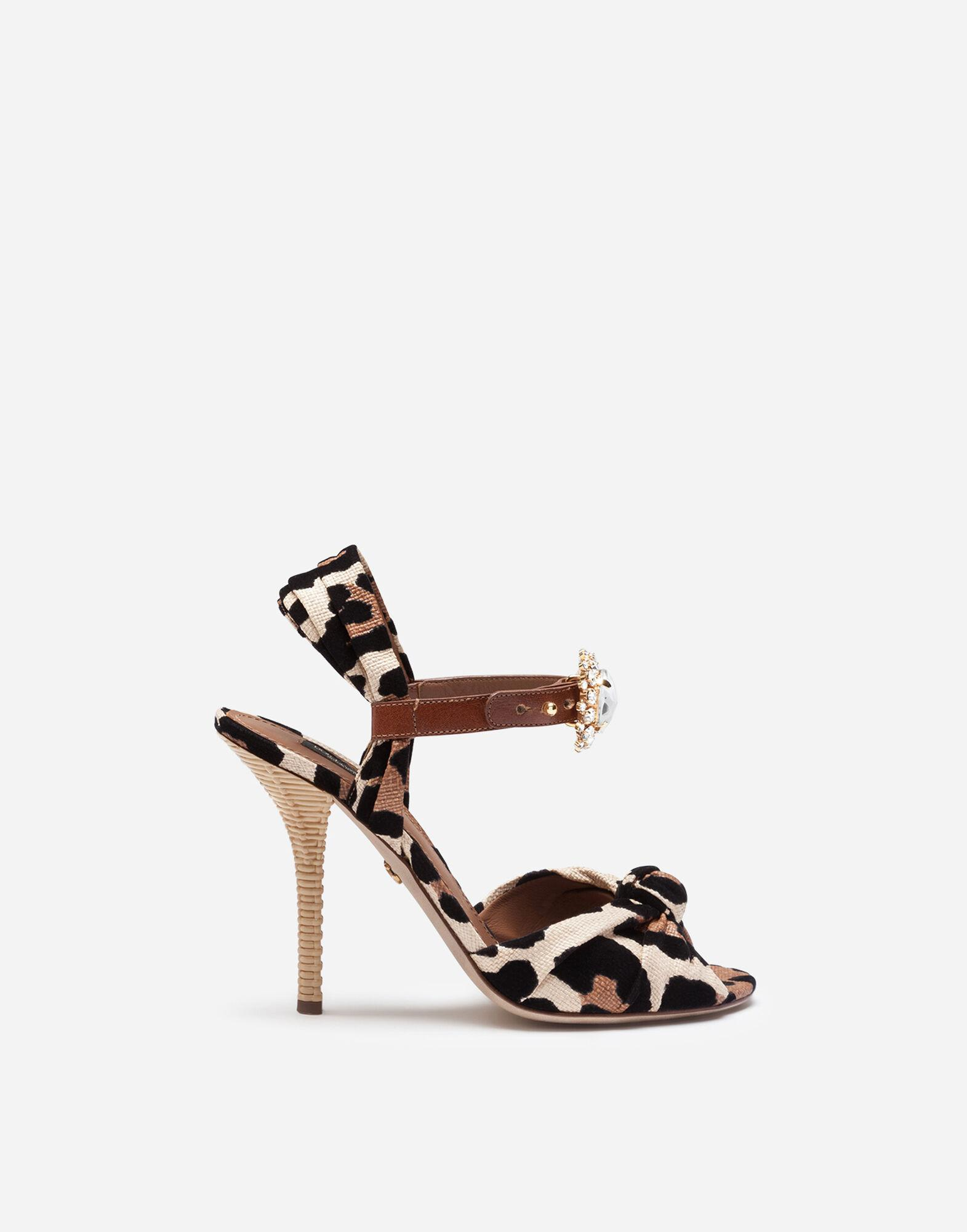 Raffia sandals with flocked leopard print with bejeweled buckle
