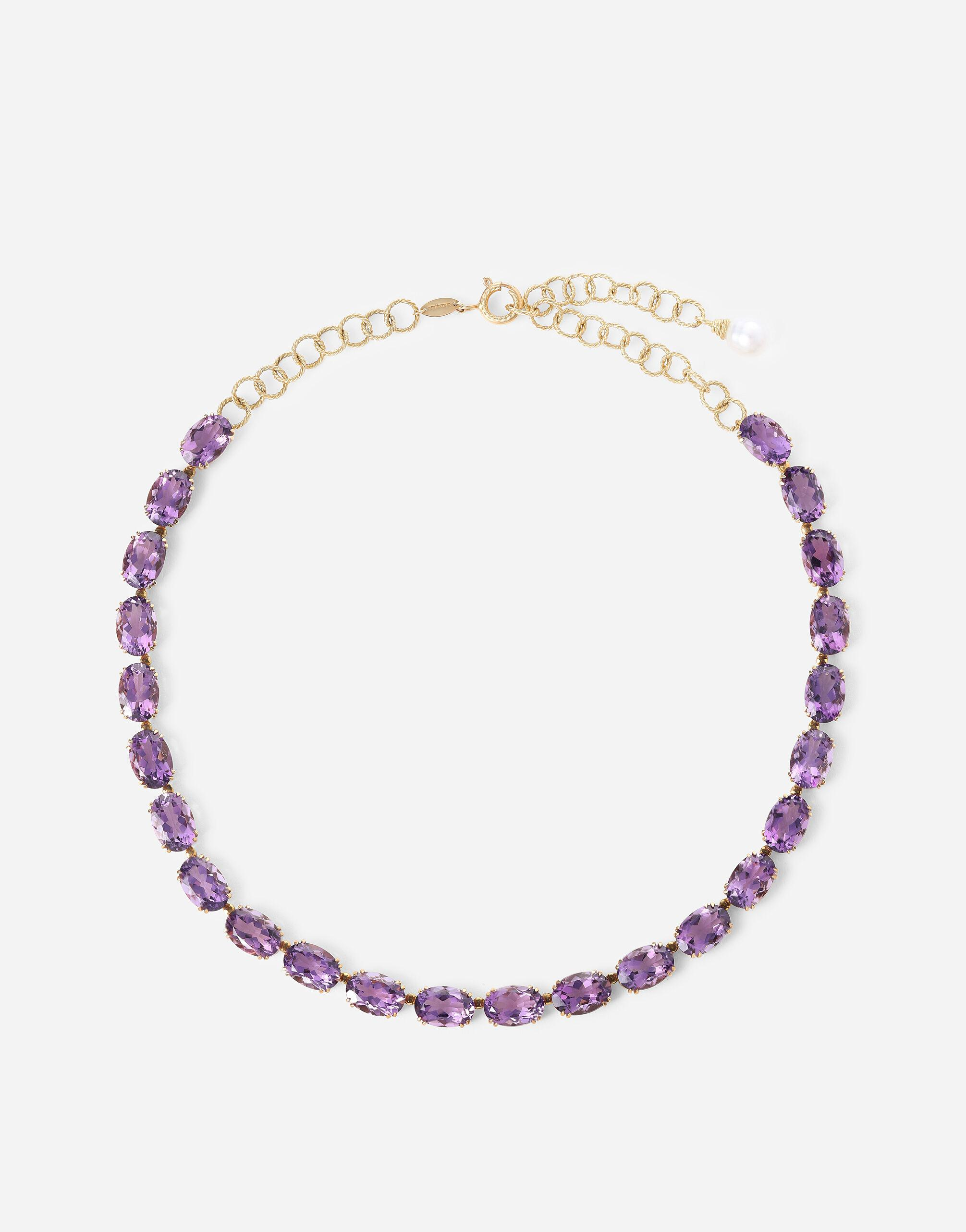 Anna necklace in yellow 18kt gold with amethysts
