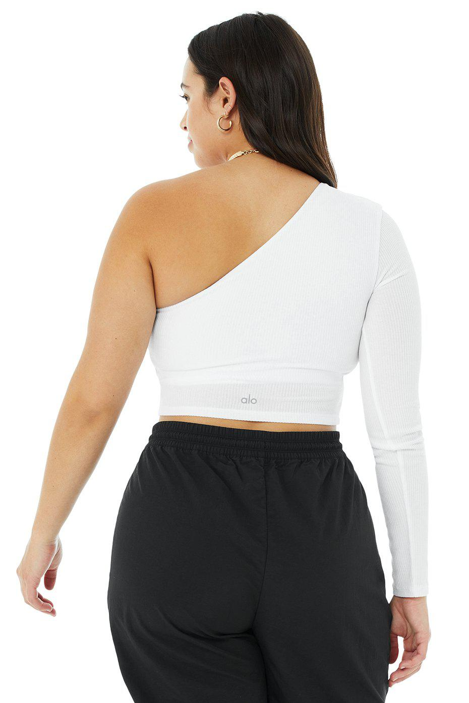Ribbed Wave Crop Long Sleeve - White 7