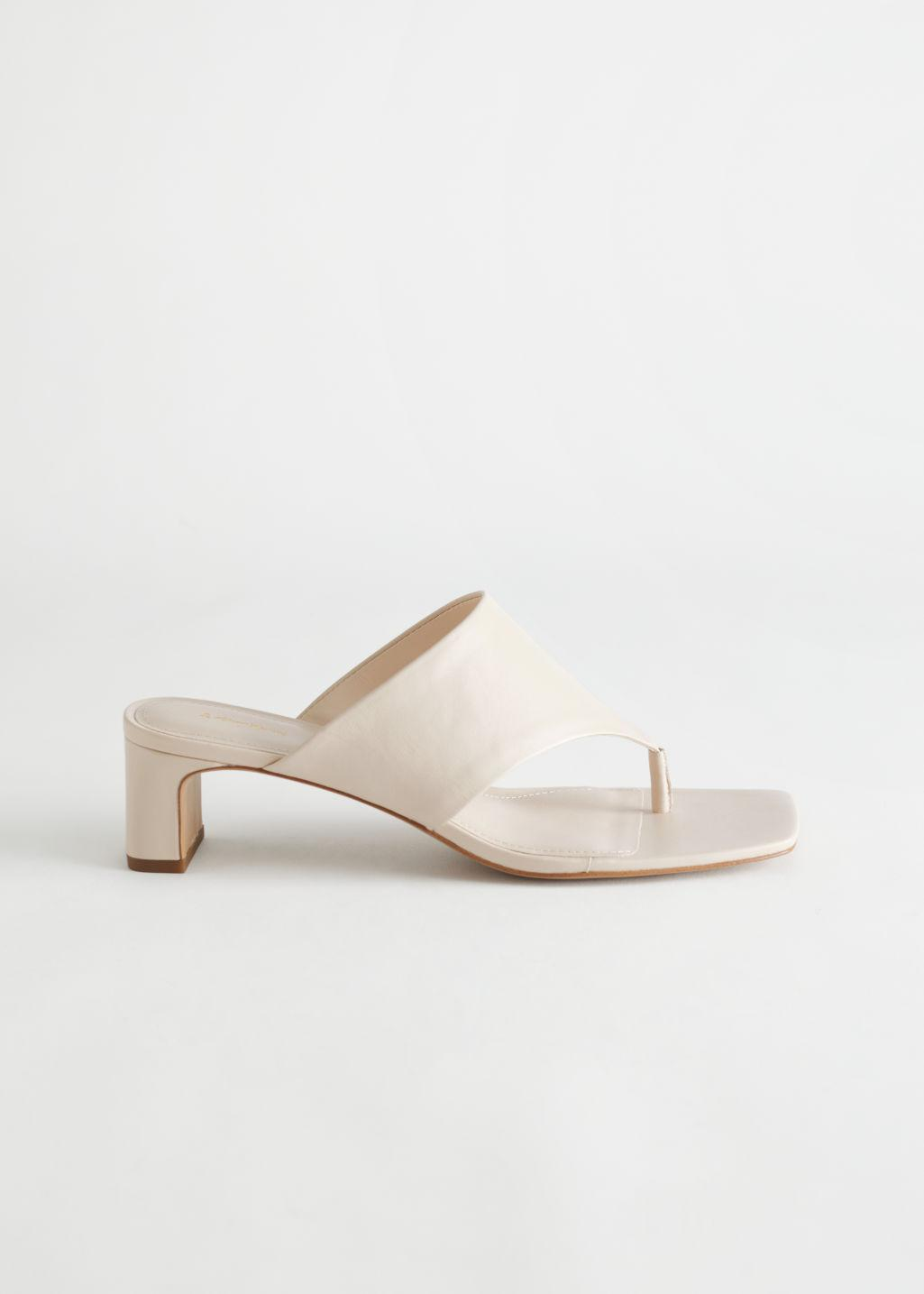 Thong Strap Leather Mule Sandals