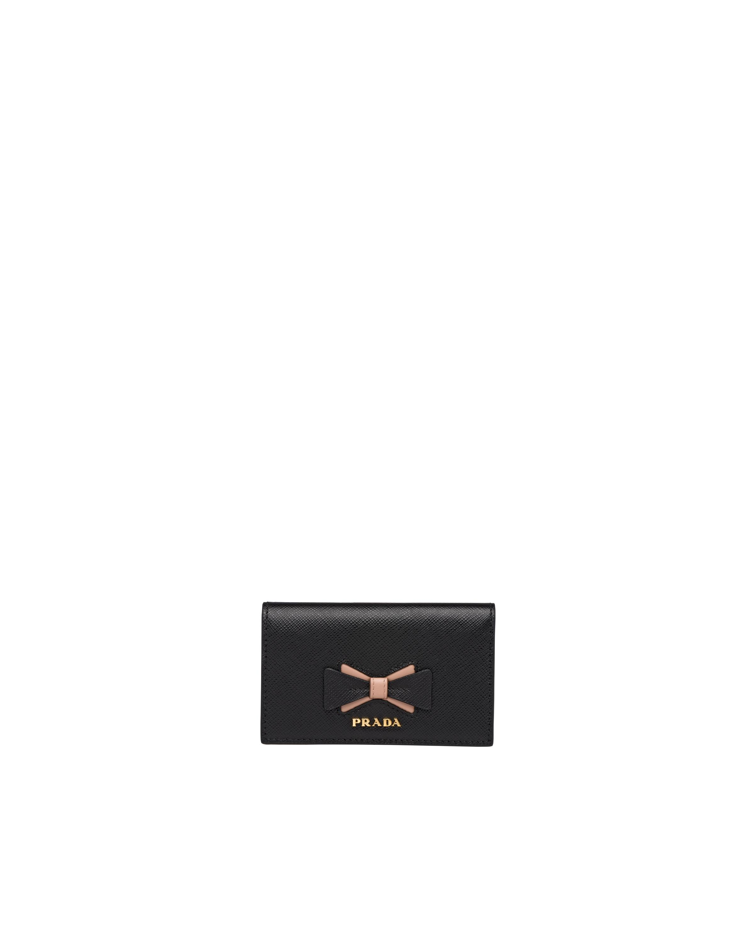 Saffiano Leather Card Holder With Bow Women Black/pale Pink 4