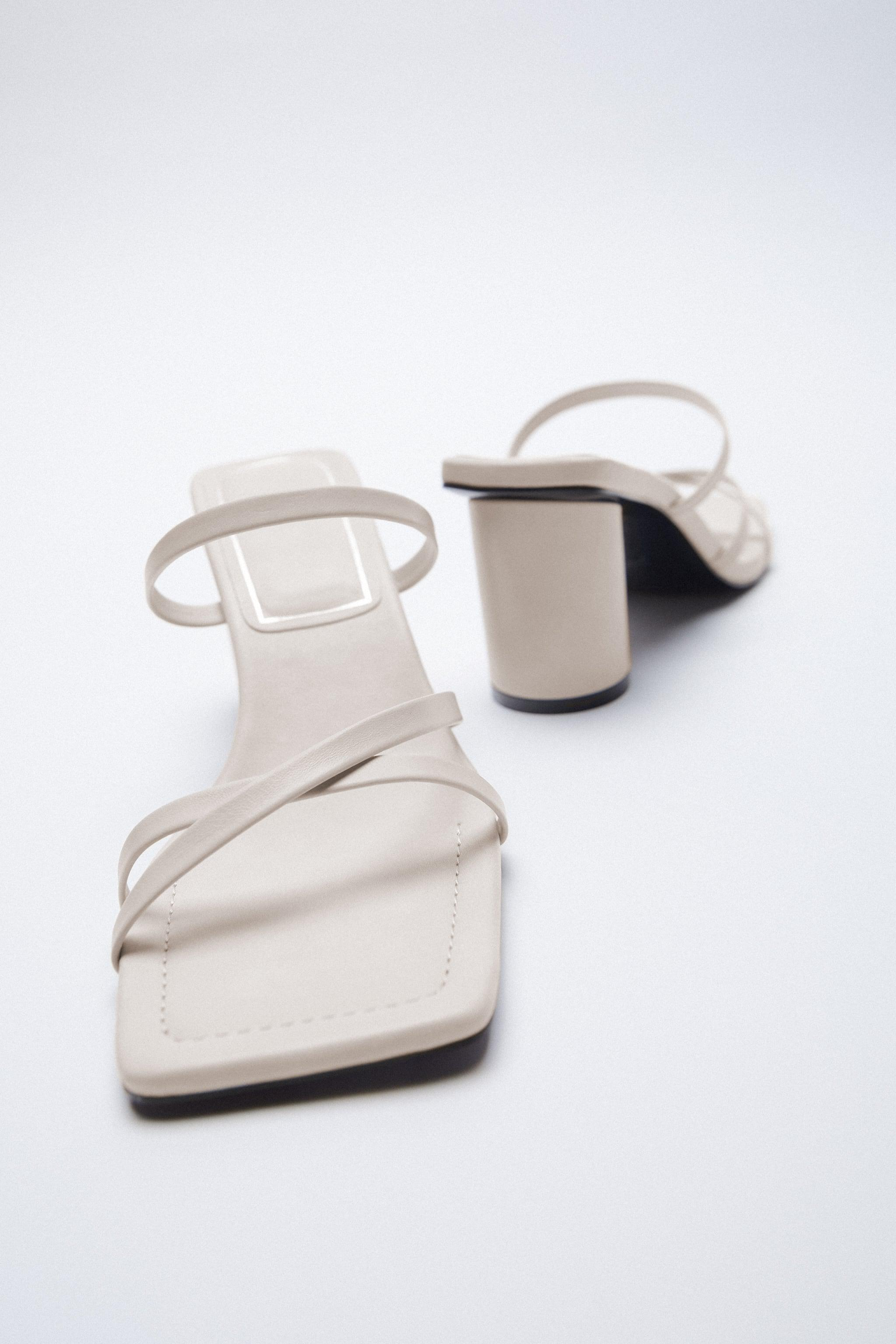 HEELED LEATHER SQUARE TOE SANDALS 5