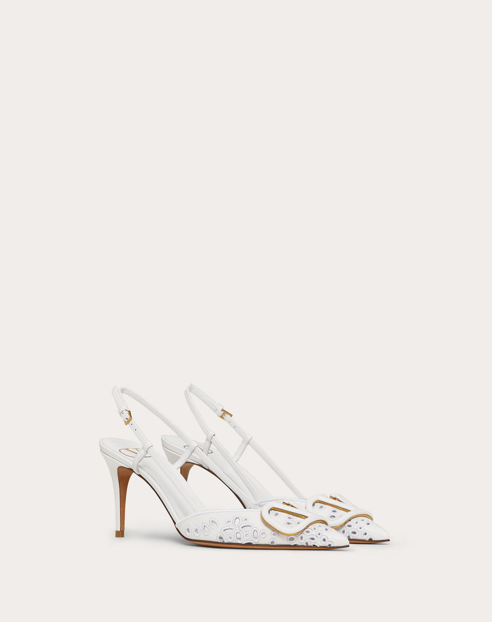 VLOGO SIGNATURE CALFSKIN SLINGBACK PUMP WITH SAN GALLO EMBROIDERY 80 MM 1