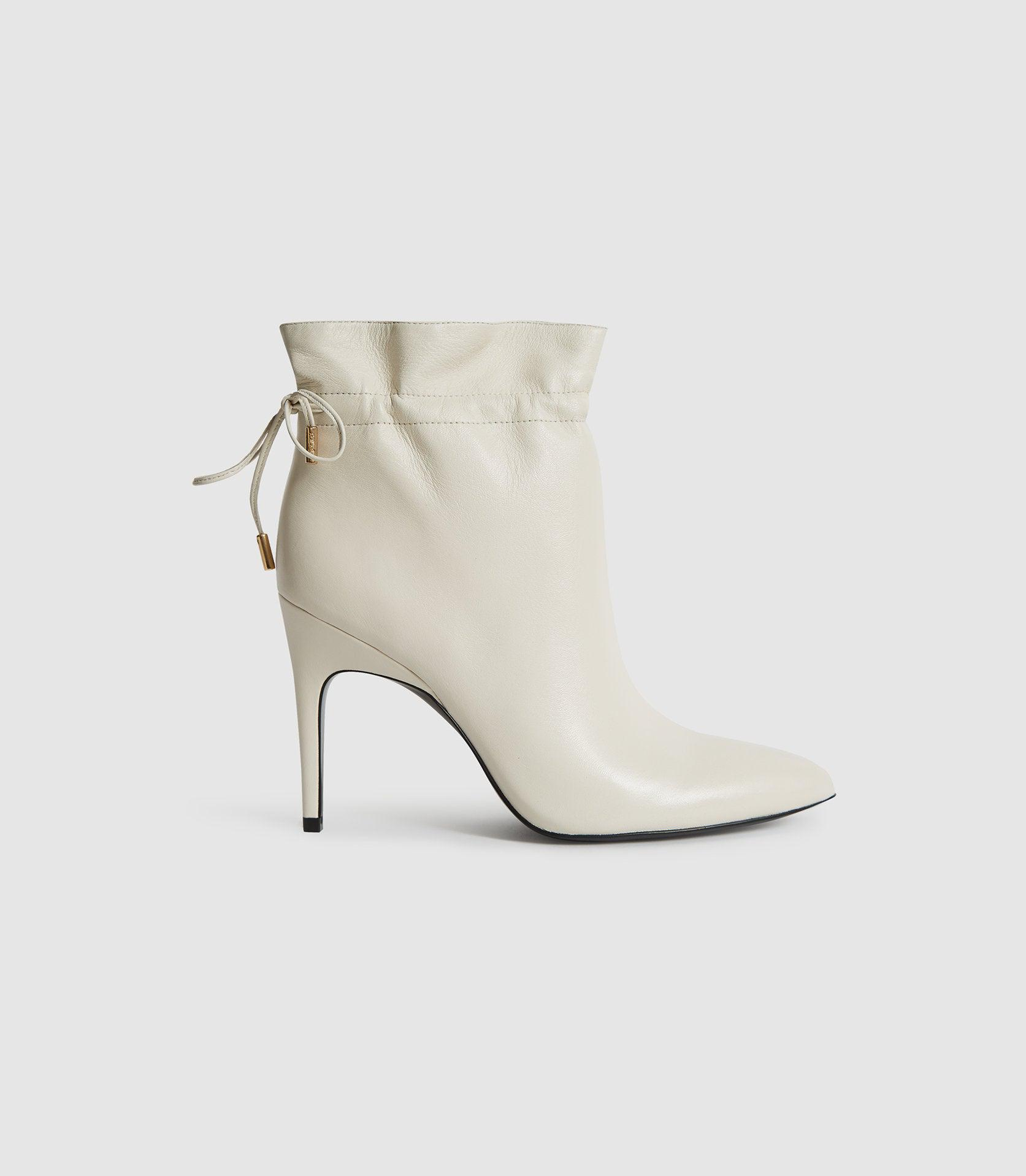 RUSSO - LEATHER RUCHED ANKLE BOOTS