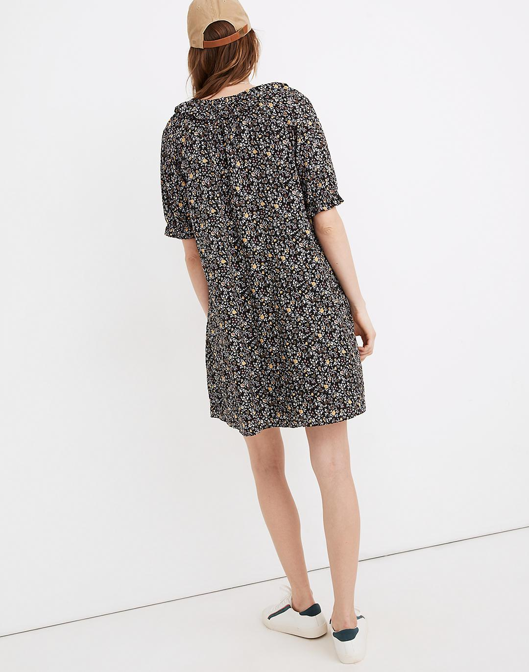 Ruffle Button-Front Trapeze Dress in Folkmagic Floral 2