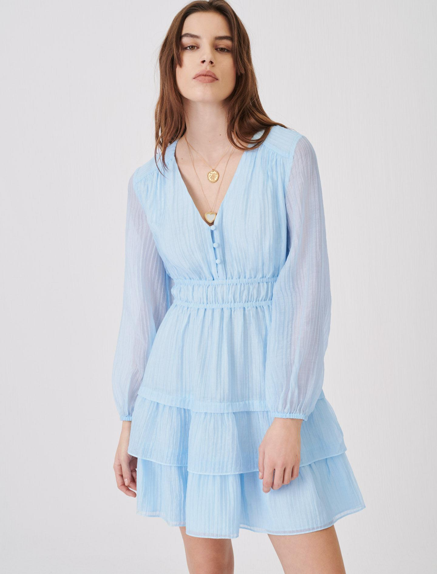 CRINKLE-EFFECT VOILE DRESS WITH RUFFLES