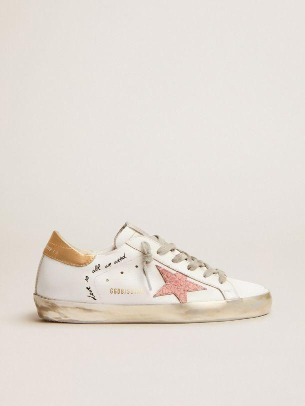 Super-Star sneakers with handwritten lettering and crocodile-print leather stars
