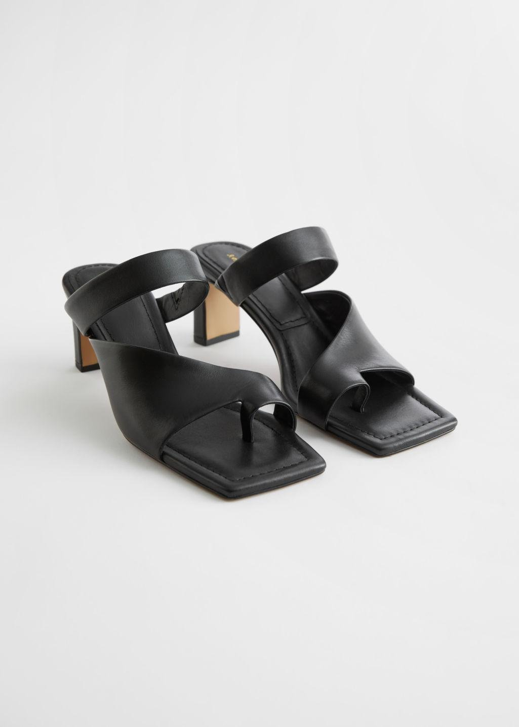 Square Toe Heeled Leather Sandals