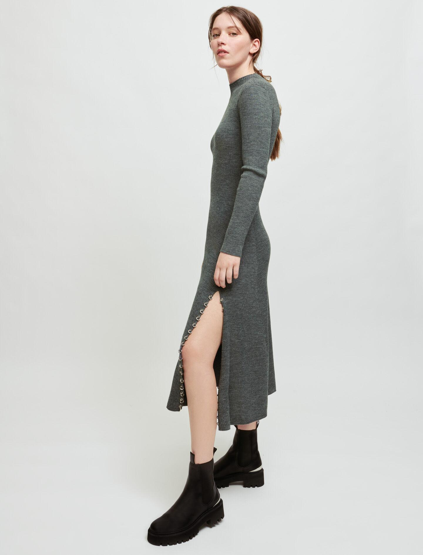 KNITTED SLIT DRESS WITH PIERCINGS 2