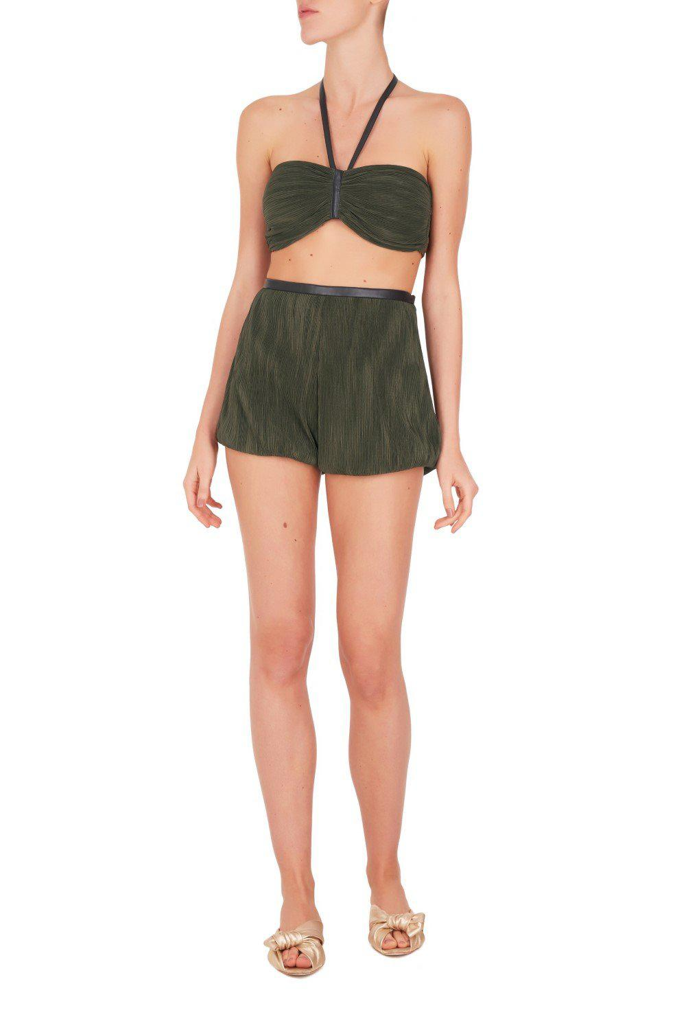 Safari Solid Pleated Top and Shorts Set