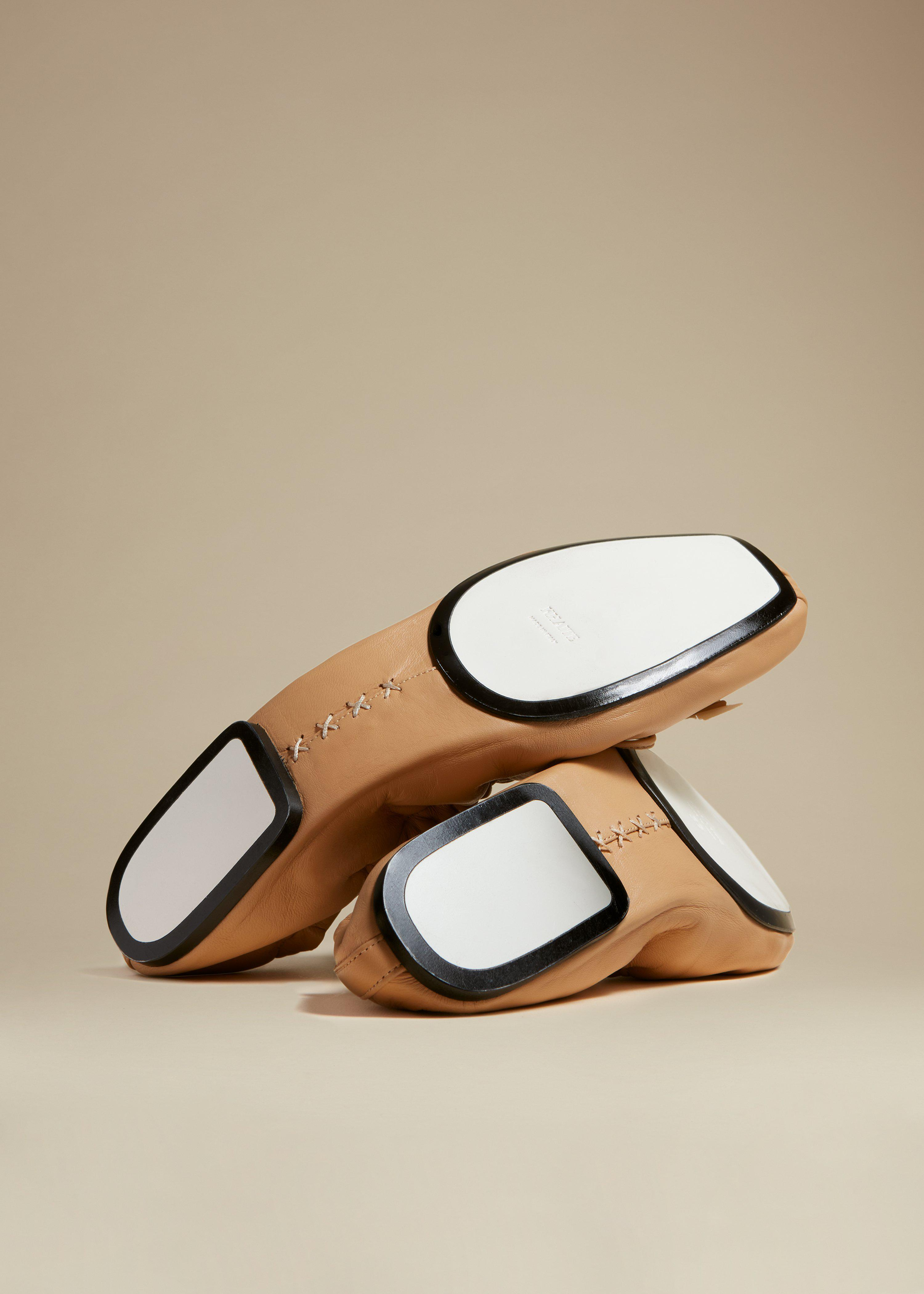The Ashland Ballet Flat in Tan Leather 3