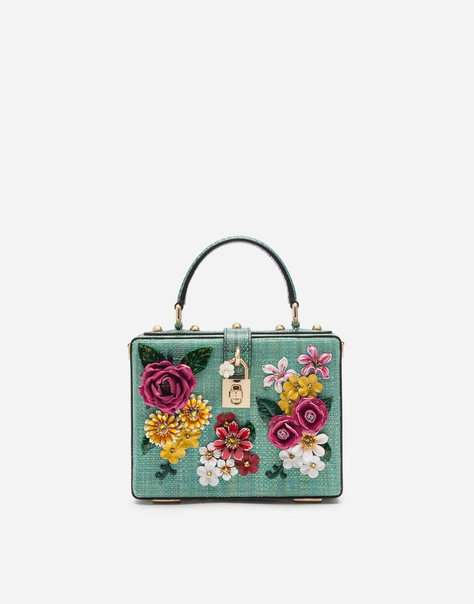 Dolce Box bag in tropea straw with embroidery