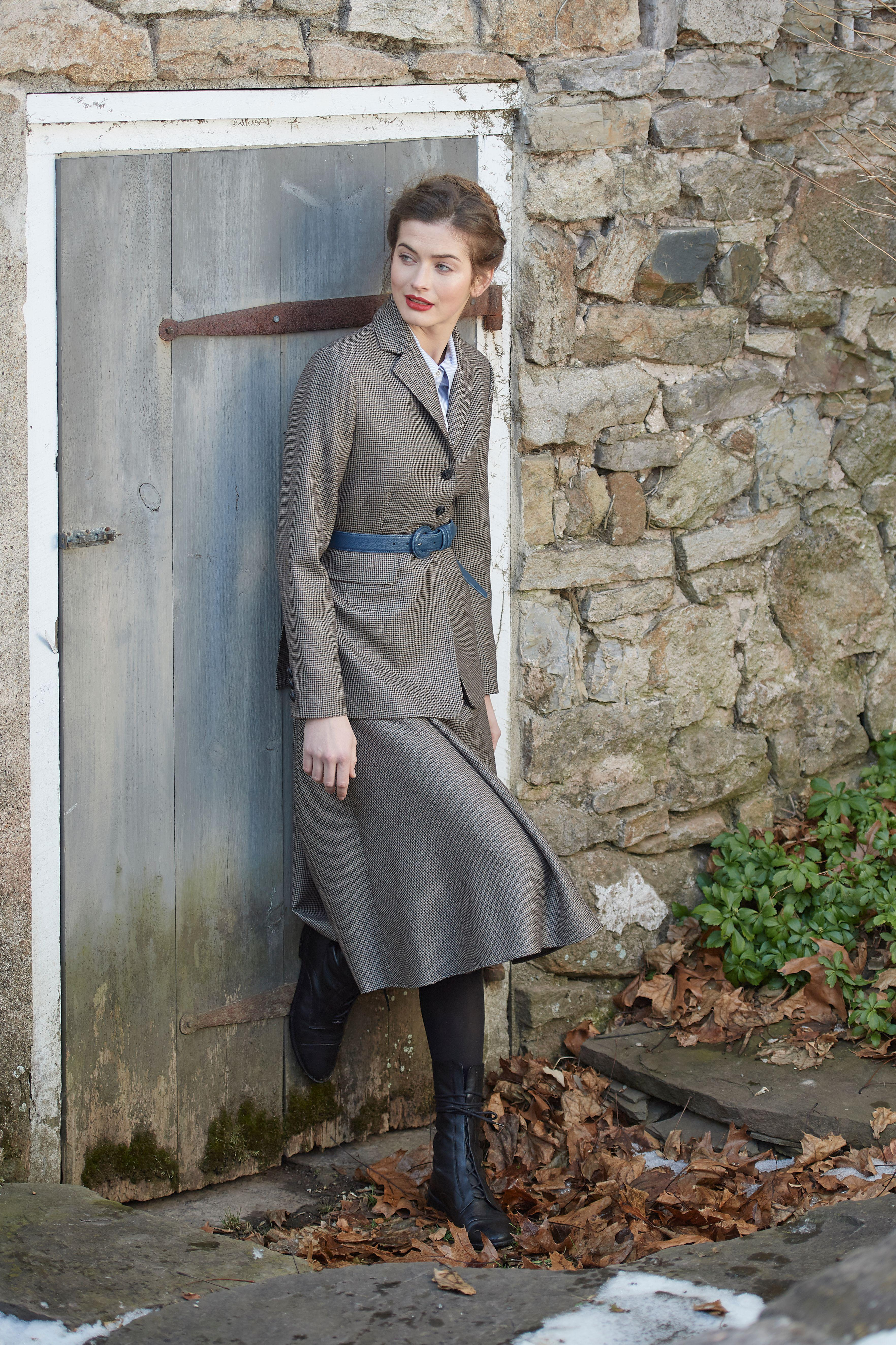 The Annabelle Skirt | Brown Houndstooth