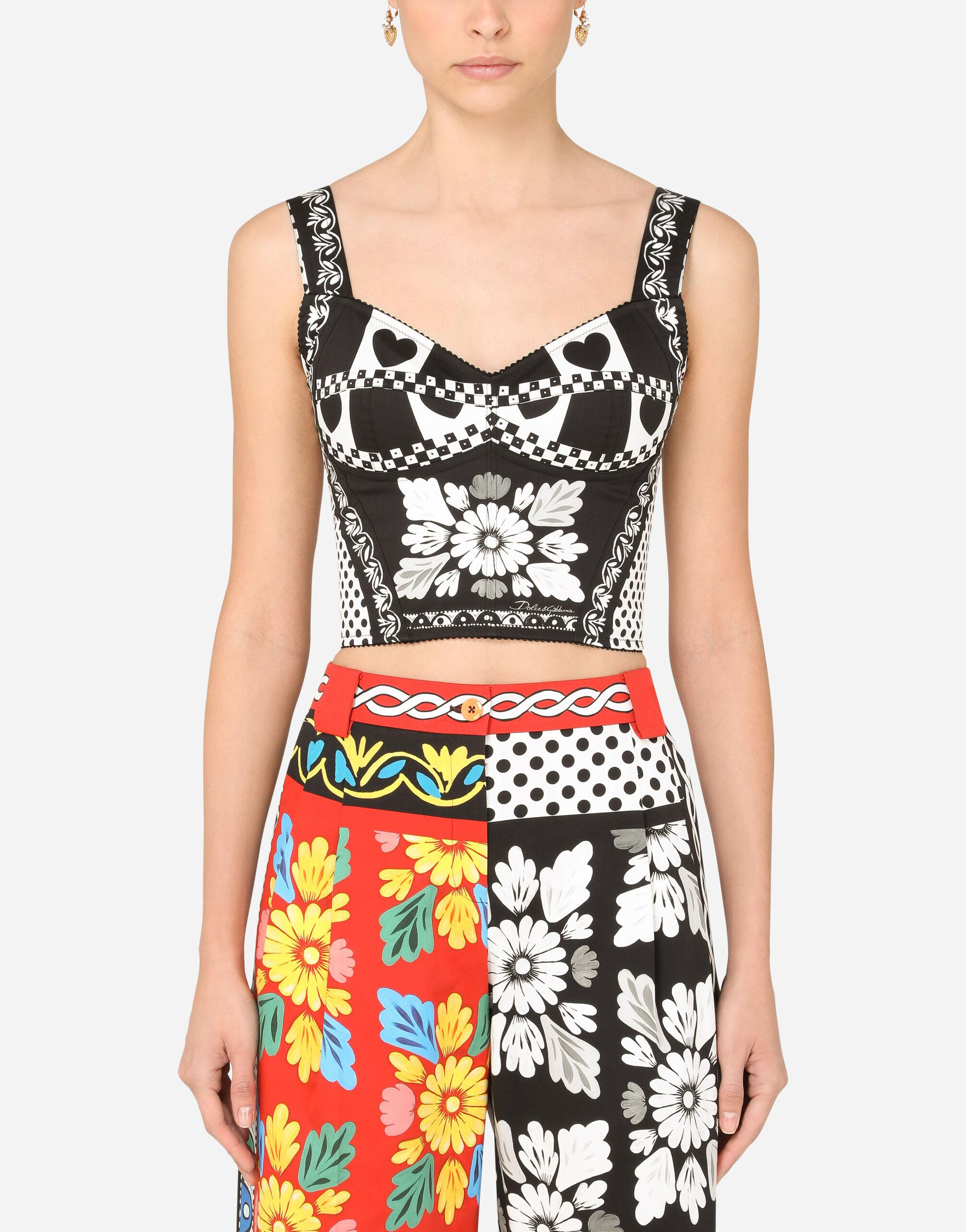 Patchwork-print drill bustier top