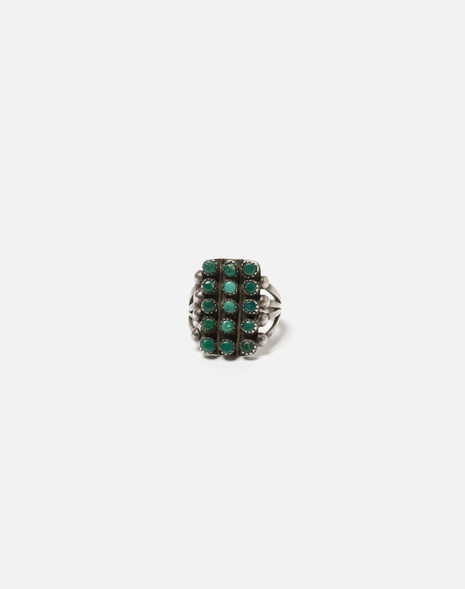40s Zuni Spilt Shank Sterling And Turquoise Stone Ring - #96 0
