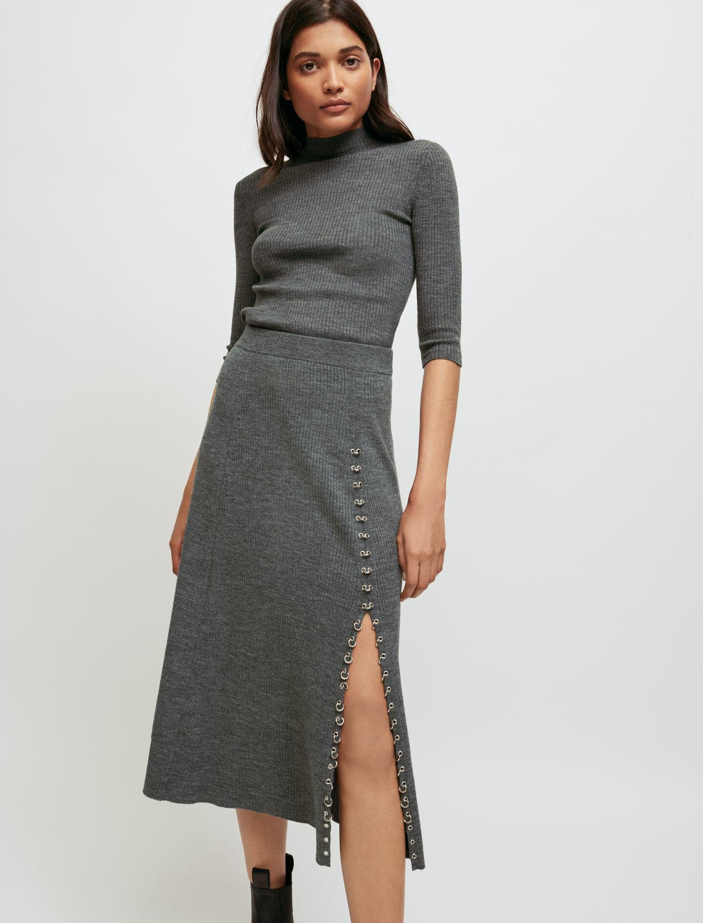 KNITTED SLIT SKIRT WITH PIERCINGS