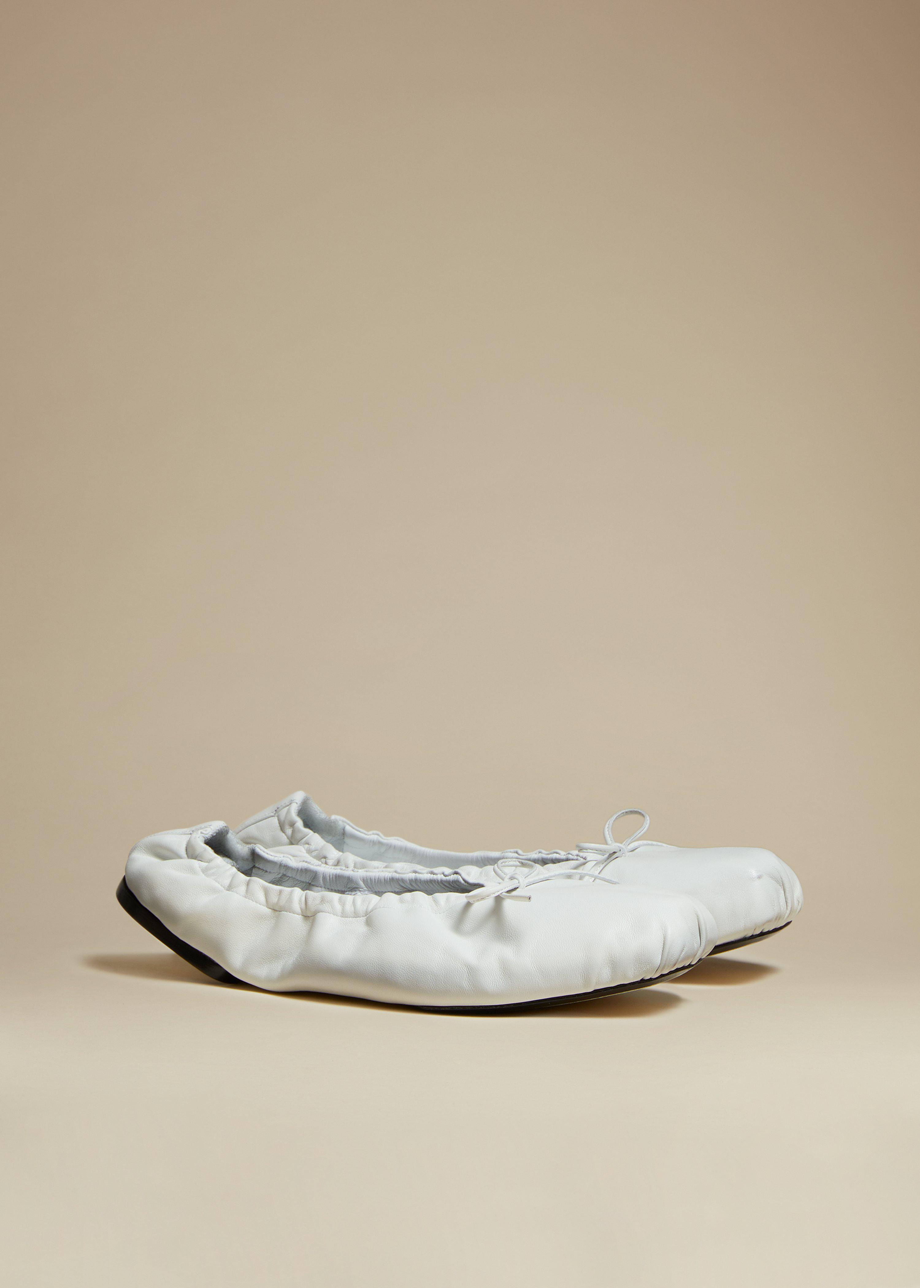The Ashland Ballet Flat in White Leather 1