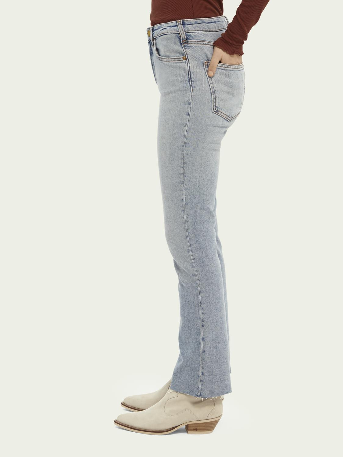 High-rise cropped flare denim trousers 3