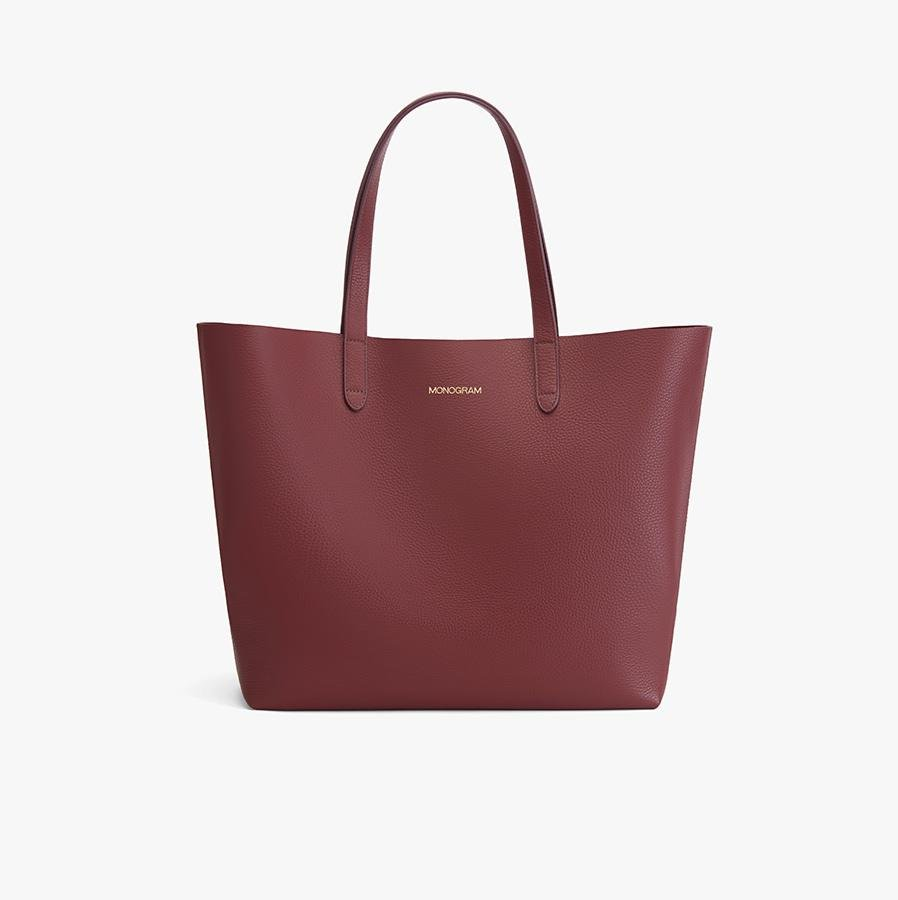 Women's Classic Leather Tote Bag in Merlot Painted   Pebbled Leather by Cuyana 6