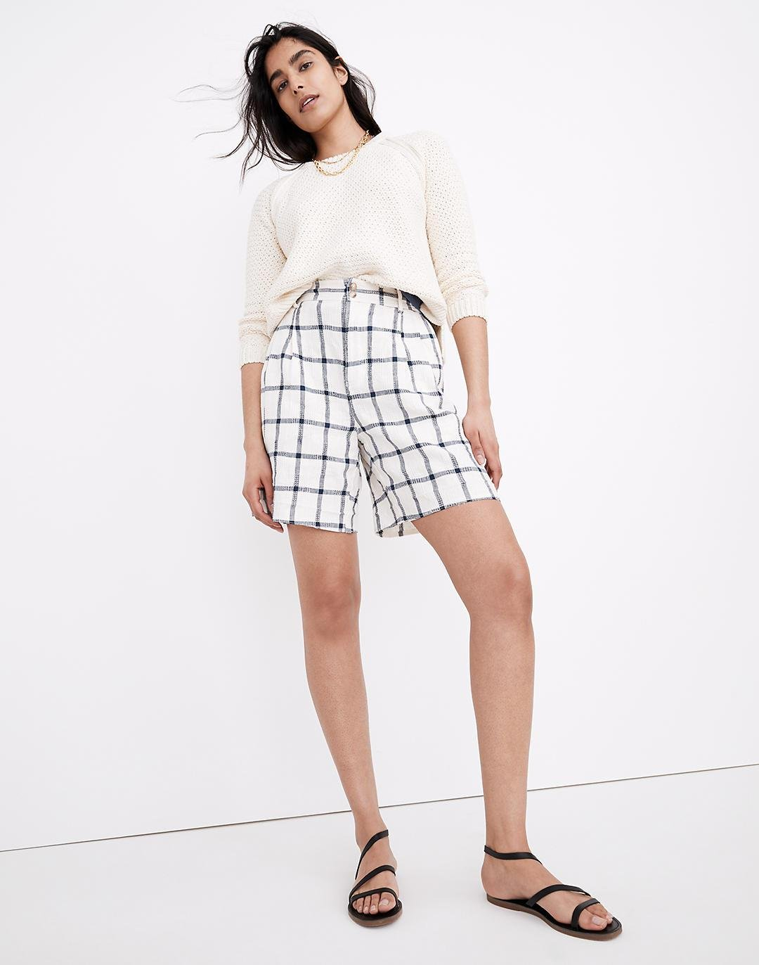 Linen-Cotton Pleated Mid-Length Shorts in Windowpane