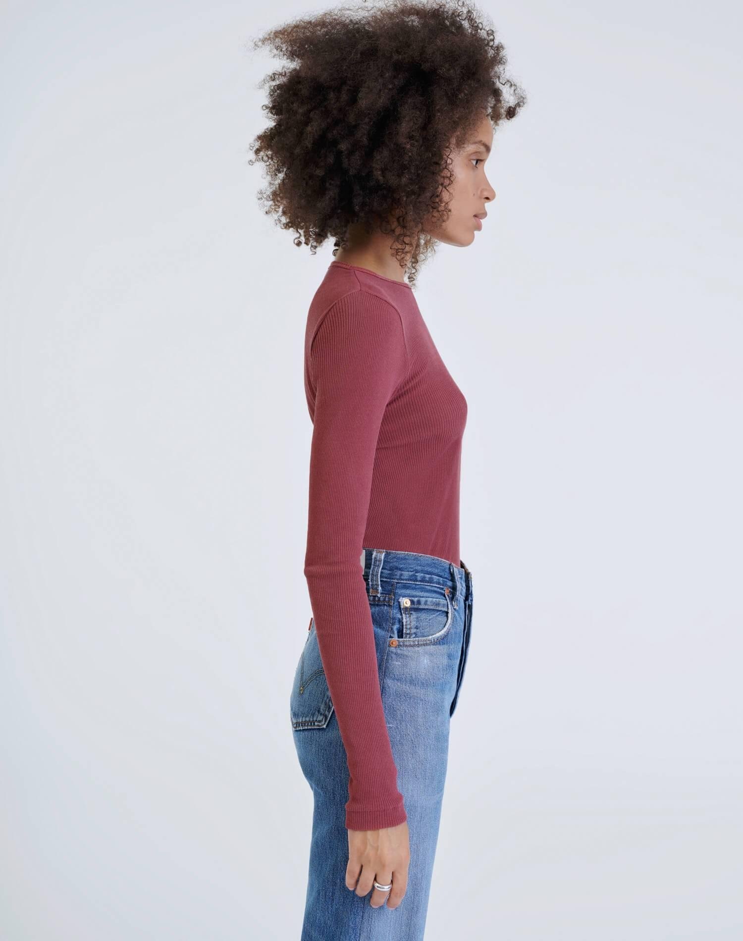 60s Ribbed Long Sleeve Bodysuit - Natural Berry 3