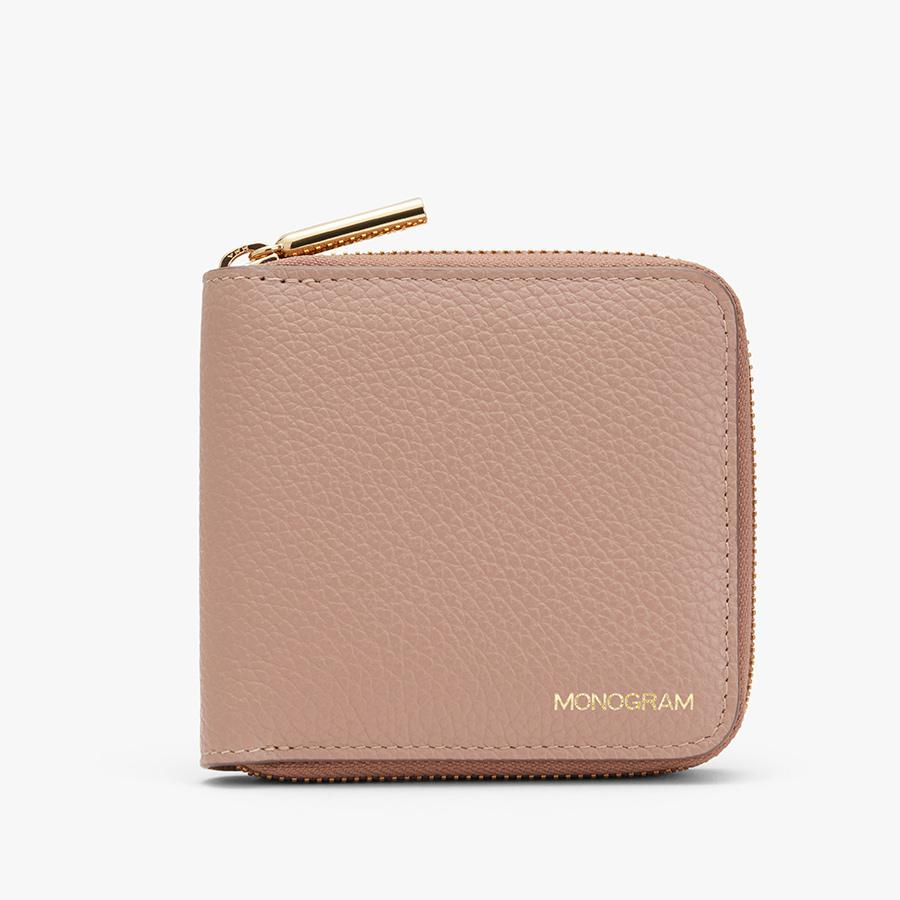Women's Small Classic Zip Around Wallet in Soft Rose | Pebbled Leather by Cuyana 4