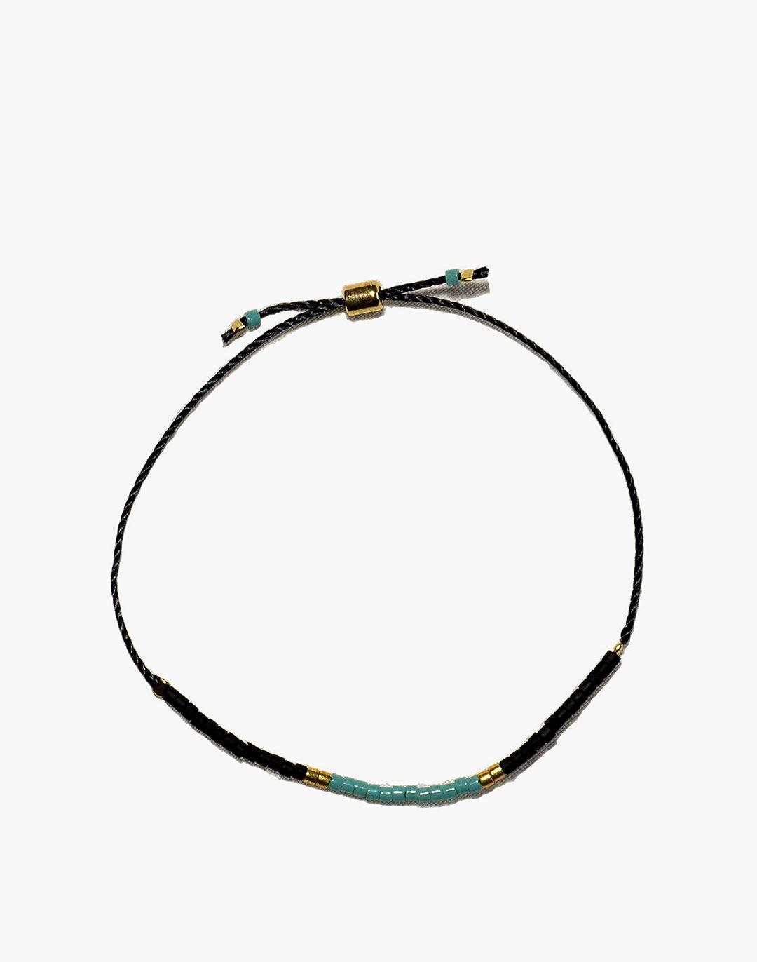 Cast of Stones Beaded Intention Bracelet in Turquoise and Black