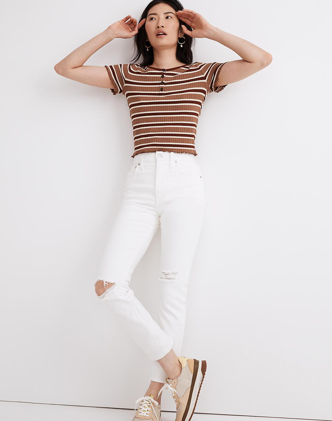 The Perfect Vintage Crop Jean in Tile White: Knee-Rip Edition