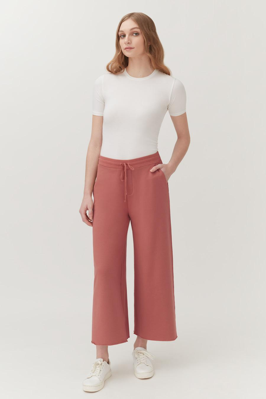 Women's French Terry Wide-Leg Cropped Pant in Passion Fruit   Size: 1