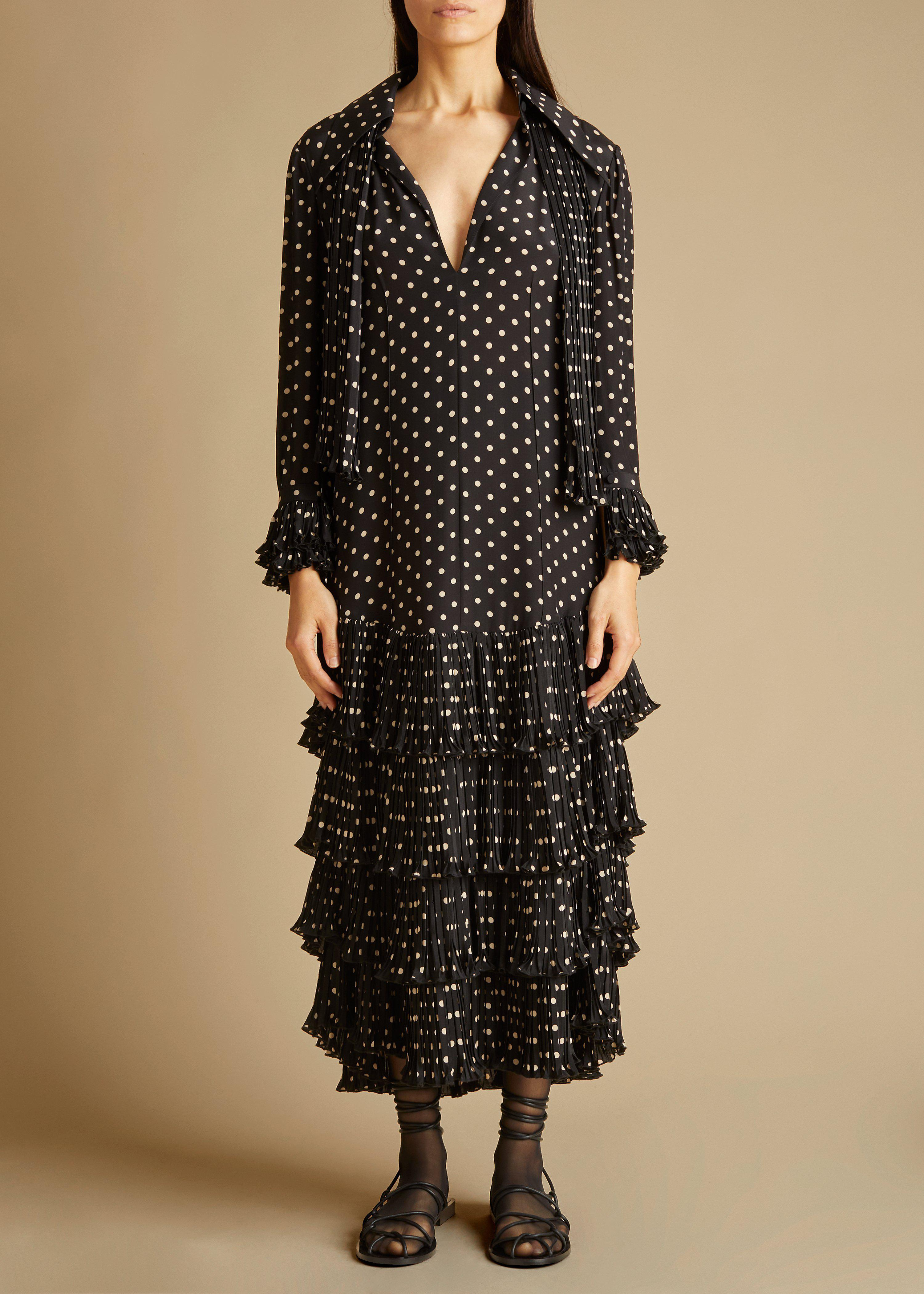 The Dolly Dress in Black and Creme Dot 1