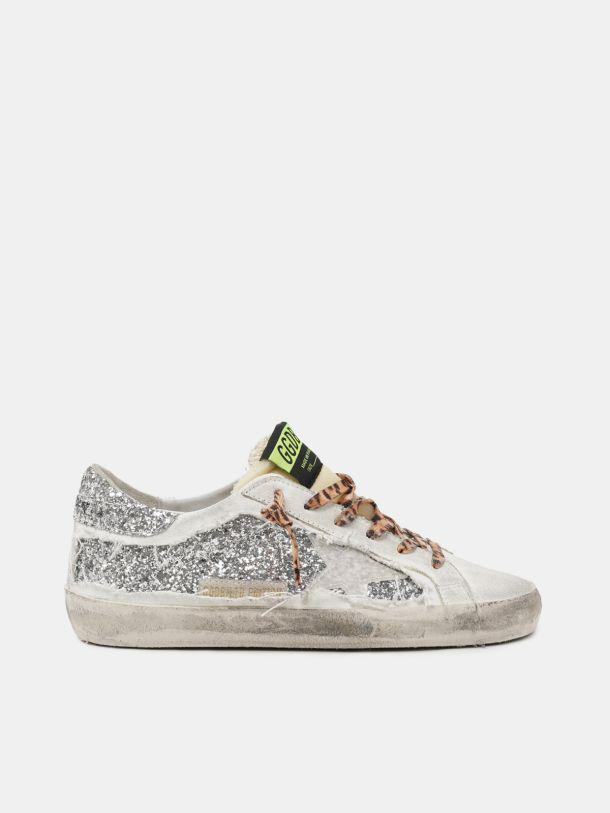 Women's Limited Edition LAB Super-Star sneakers with glitter and leopard-print laces