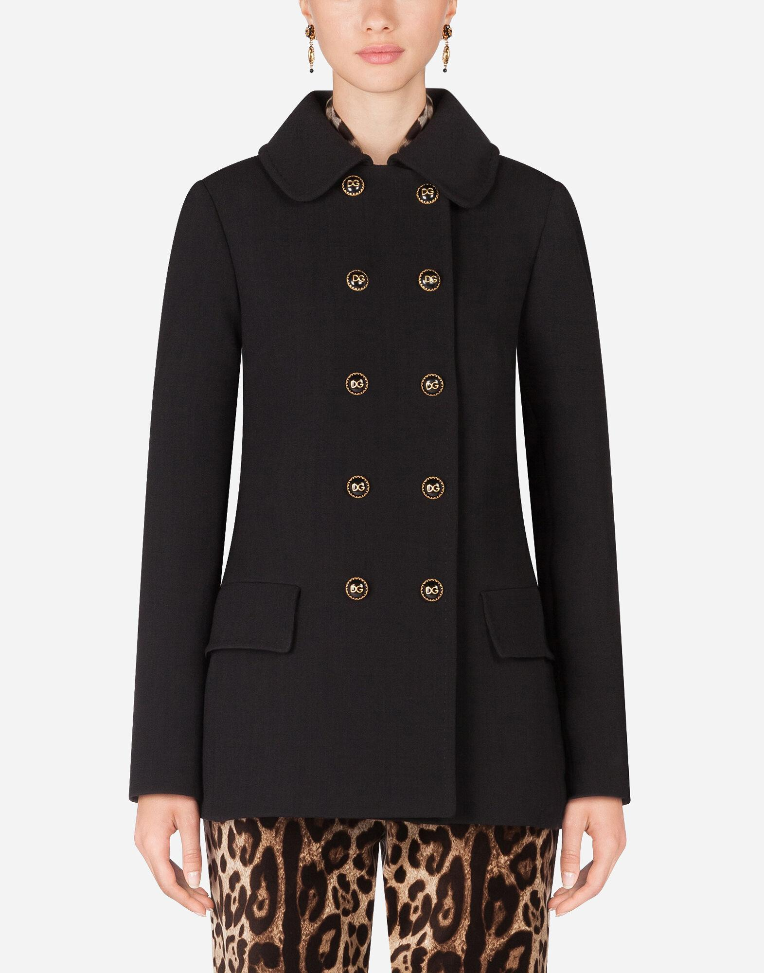 Basketweave pea coat with decorative buttons