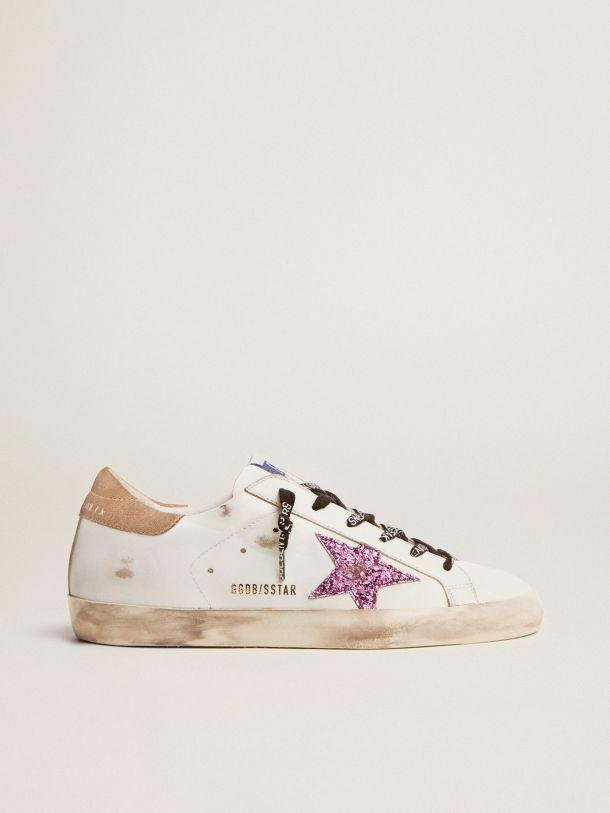 Super-Star sneakers in white leather with lavender-colored glitter star