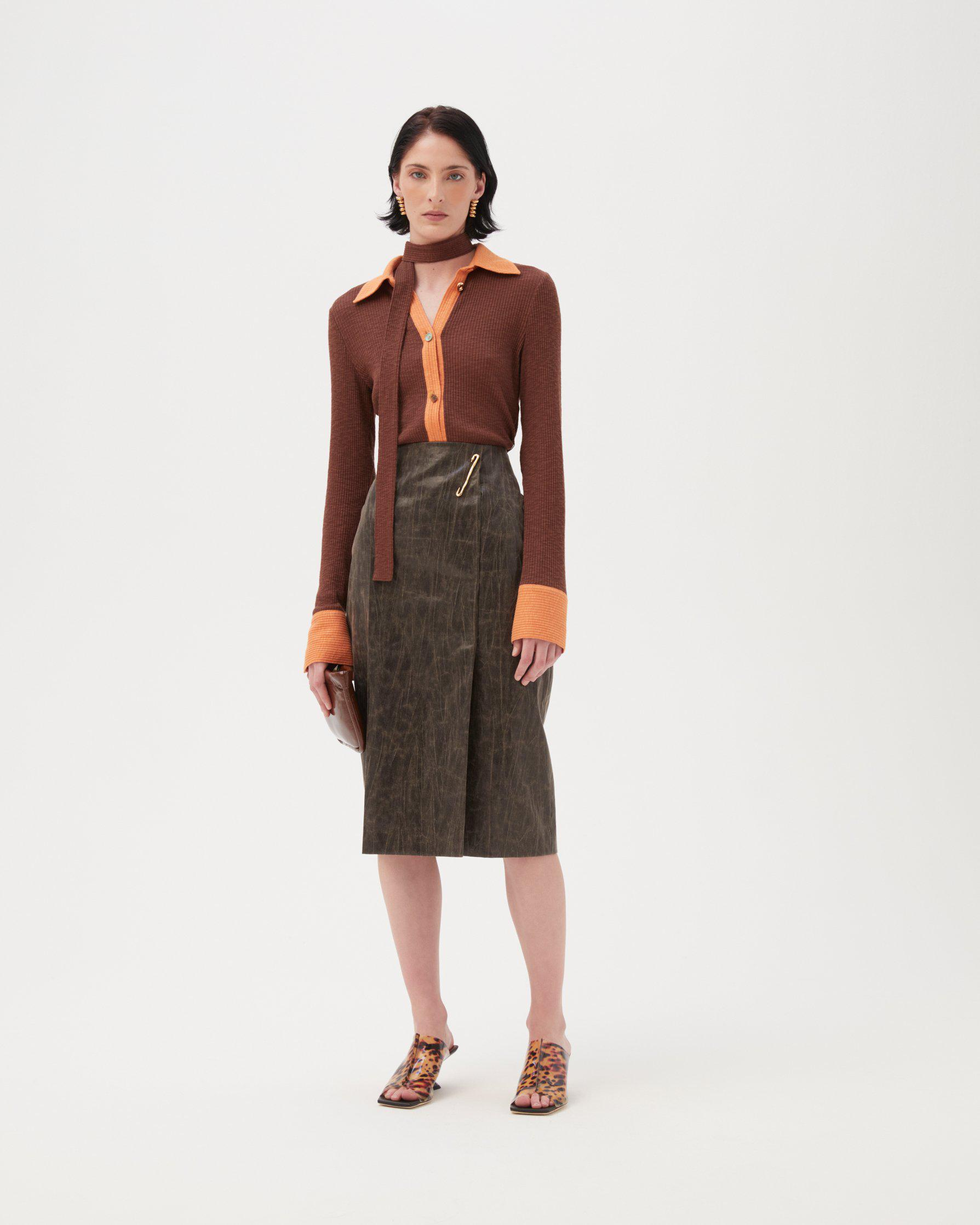 Delores Skirt Coated Cotton Blend Brown