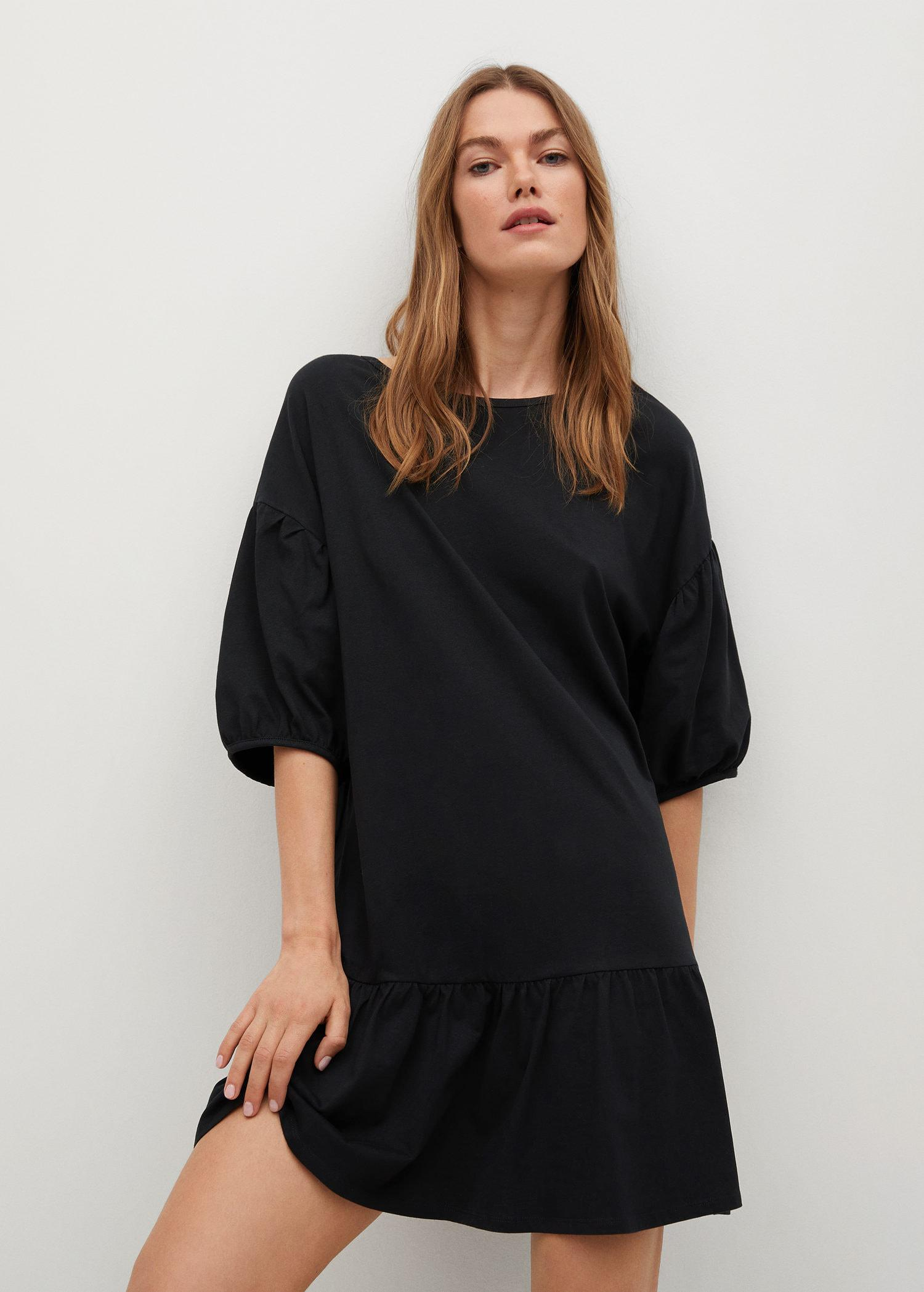 Puffed sleeves cotton dress