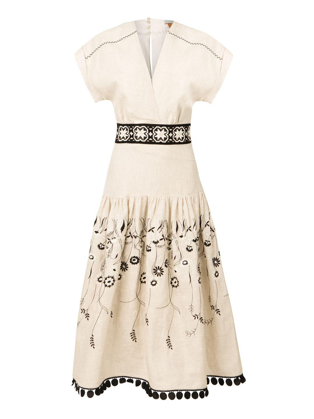 Metaponto Dress Grey Embroidered Floral