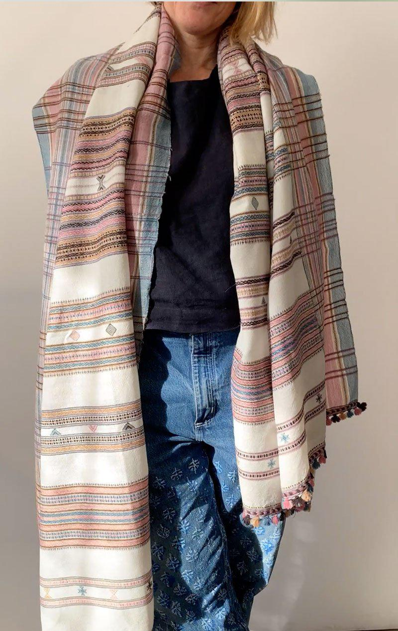 Rose and cream wool scarf