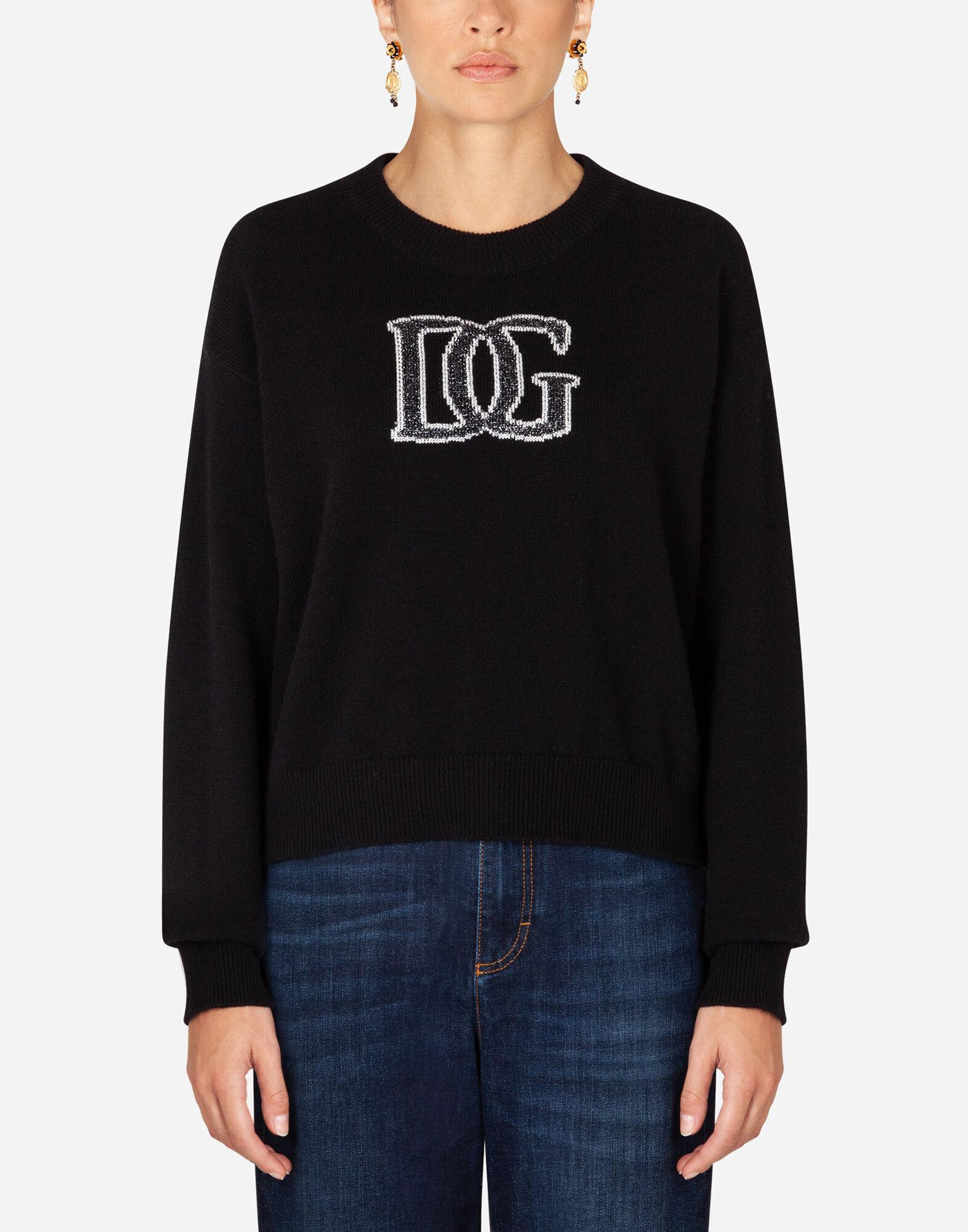 Cashmere sweater with logo intarsia