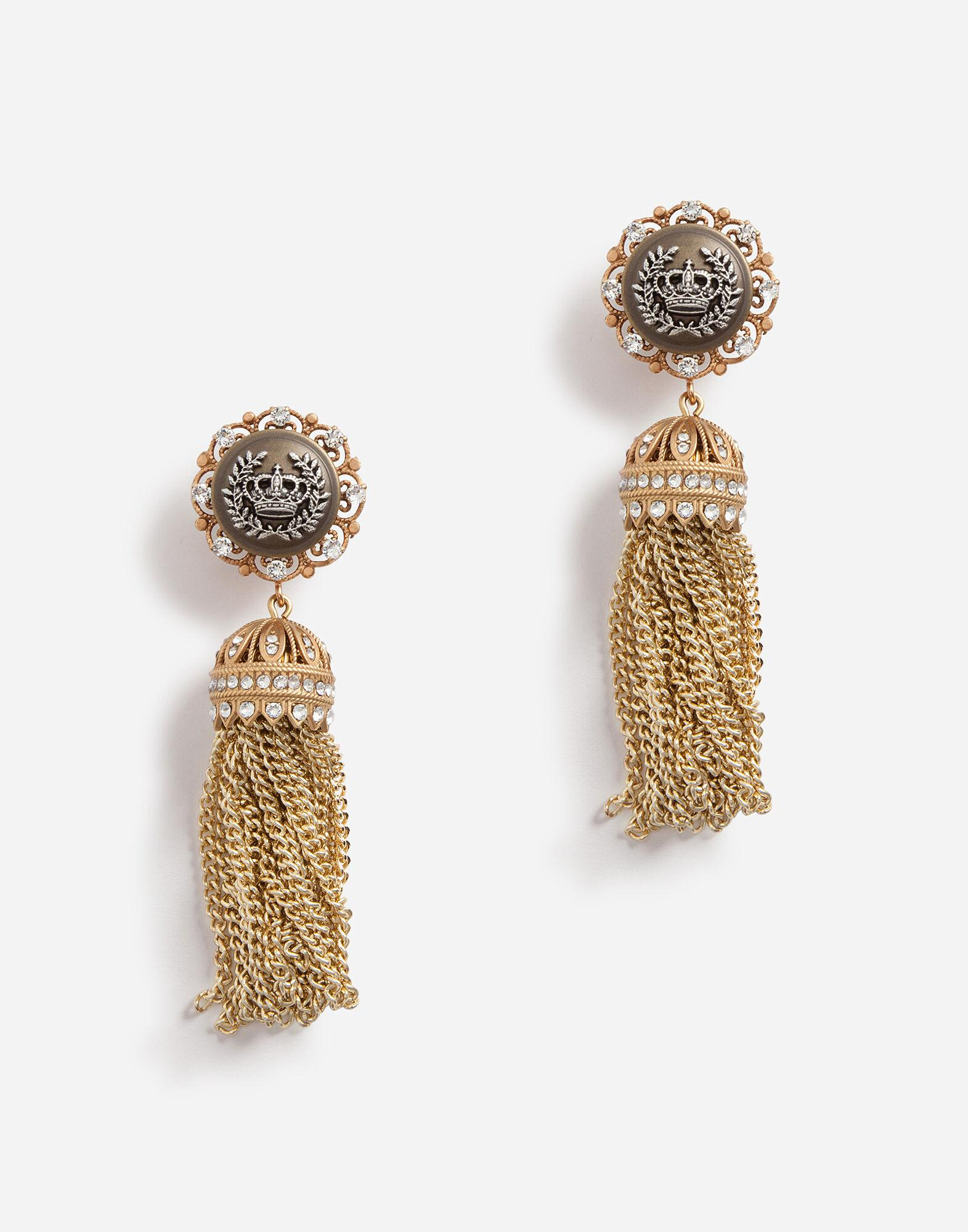 Clip-on drop earrings with rhinestone accents and the heraldic logo
