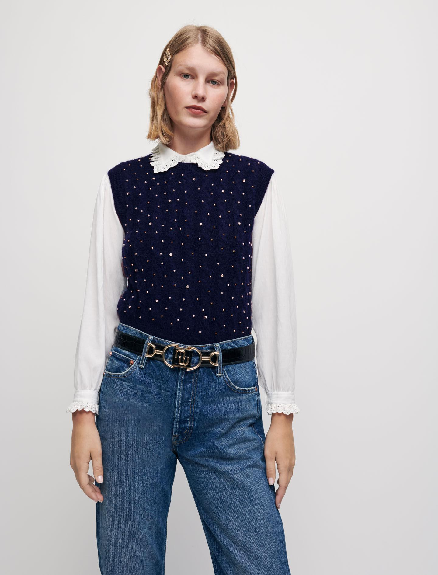 SLEEVELESS SWEATER WITH JEWEL DETAILS