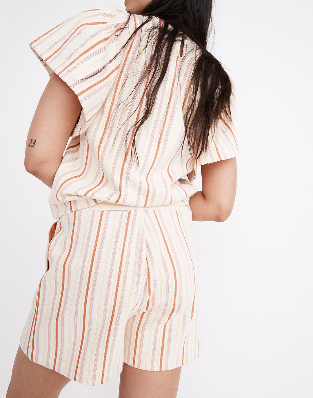 Textural Knit High-Rise Pleated Shorts in Stripe 1