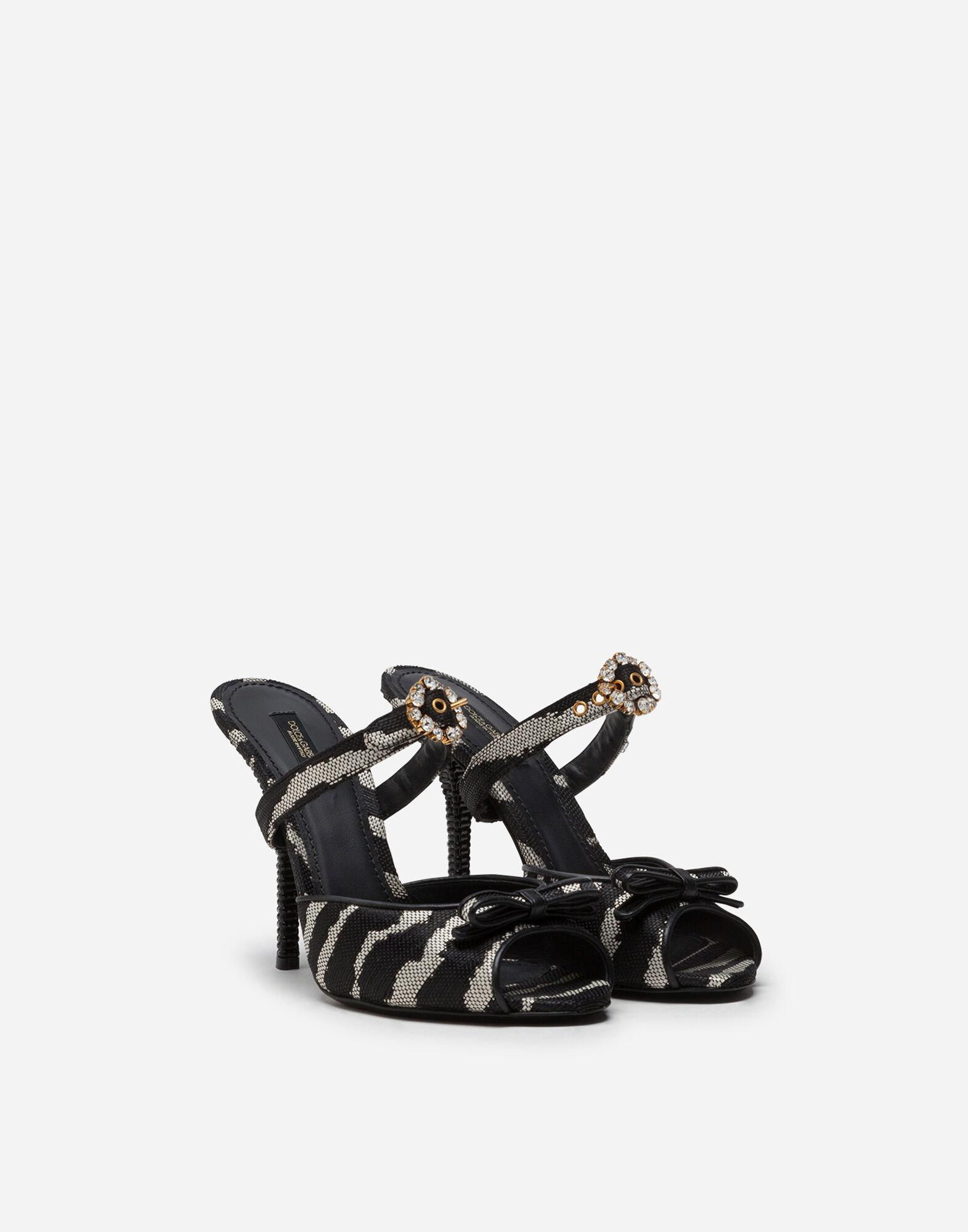 Mules in raffia jacquard with zebra print with bejeweled buckle 1