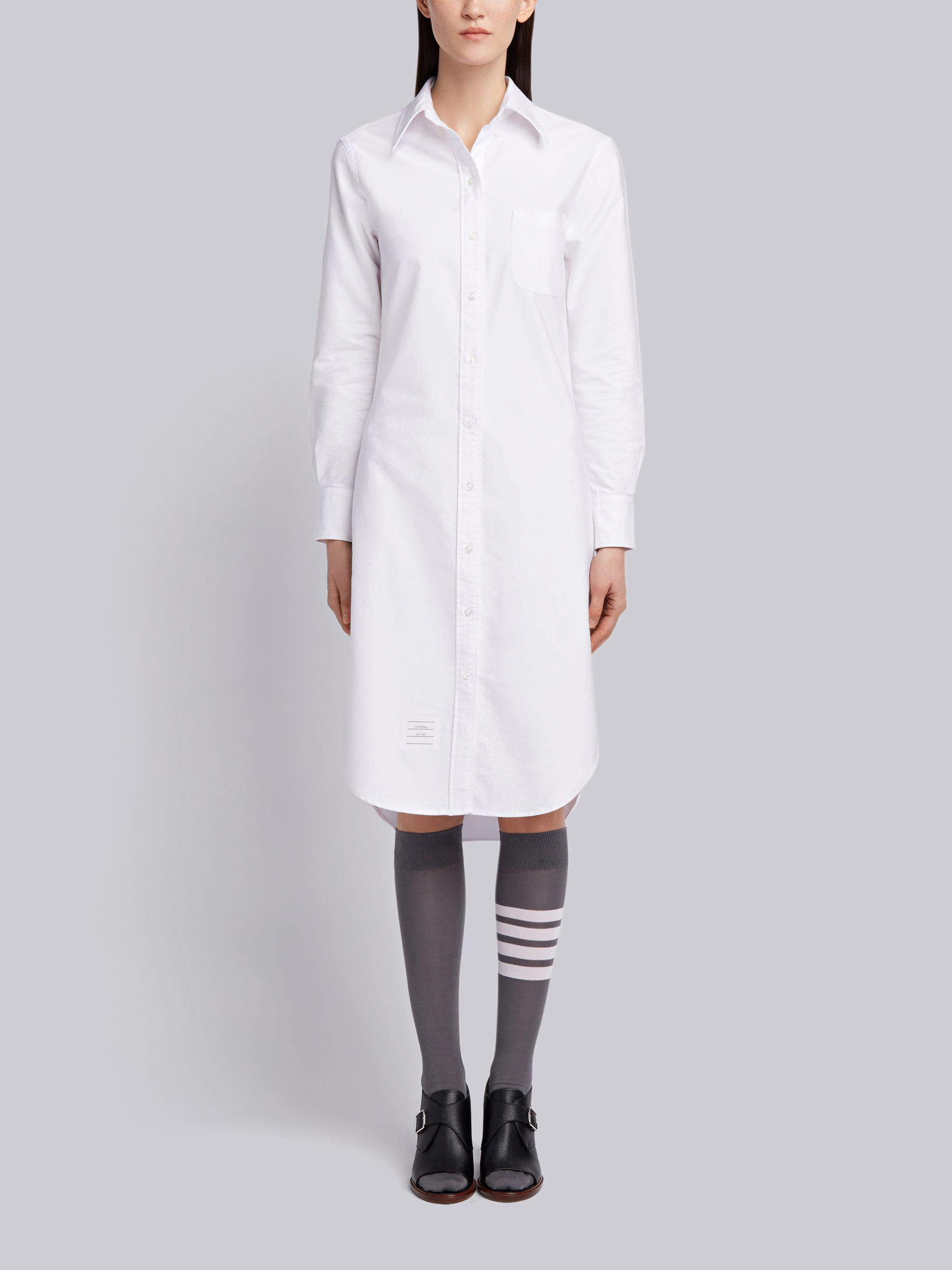 White Classic Oxford Long-sleeve Button Down Knee Length Shirtdress