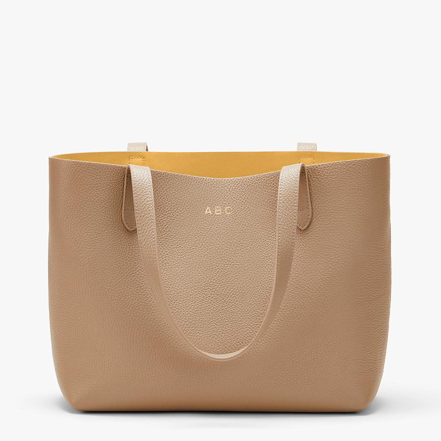 Women's Small Structured Leather Tote Bag in Cappuccino/Yellow | Pebbled Leather by Cuyana 7