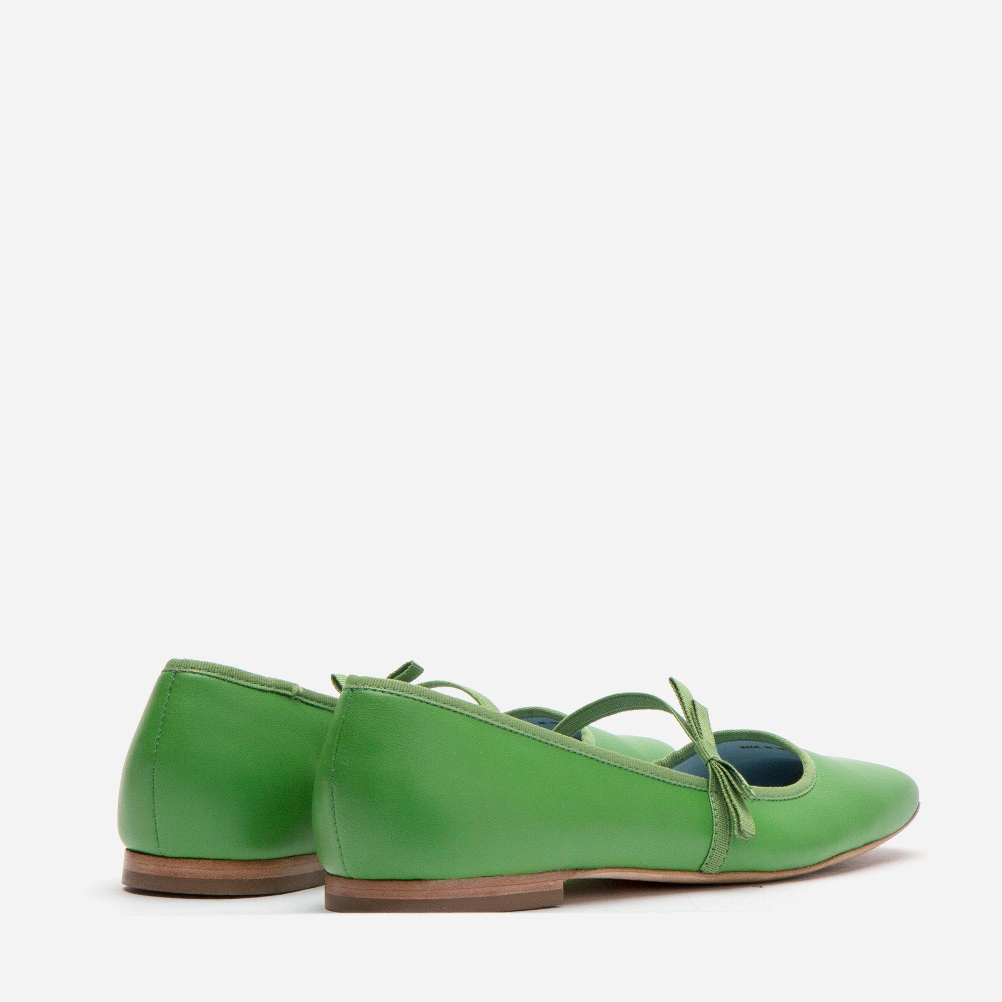 Jude Mary Jane Leather Flat Green 3