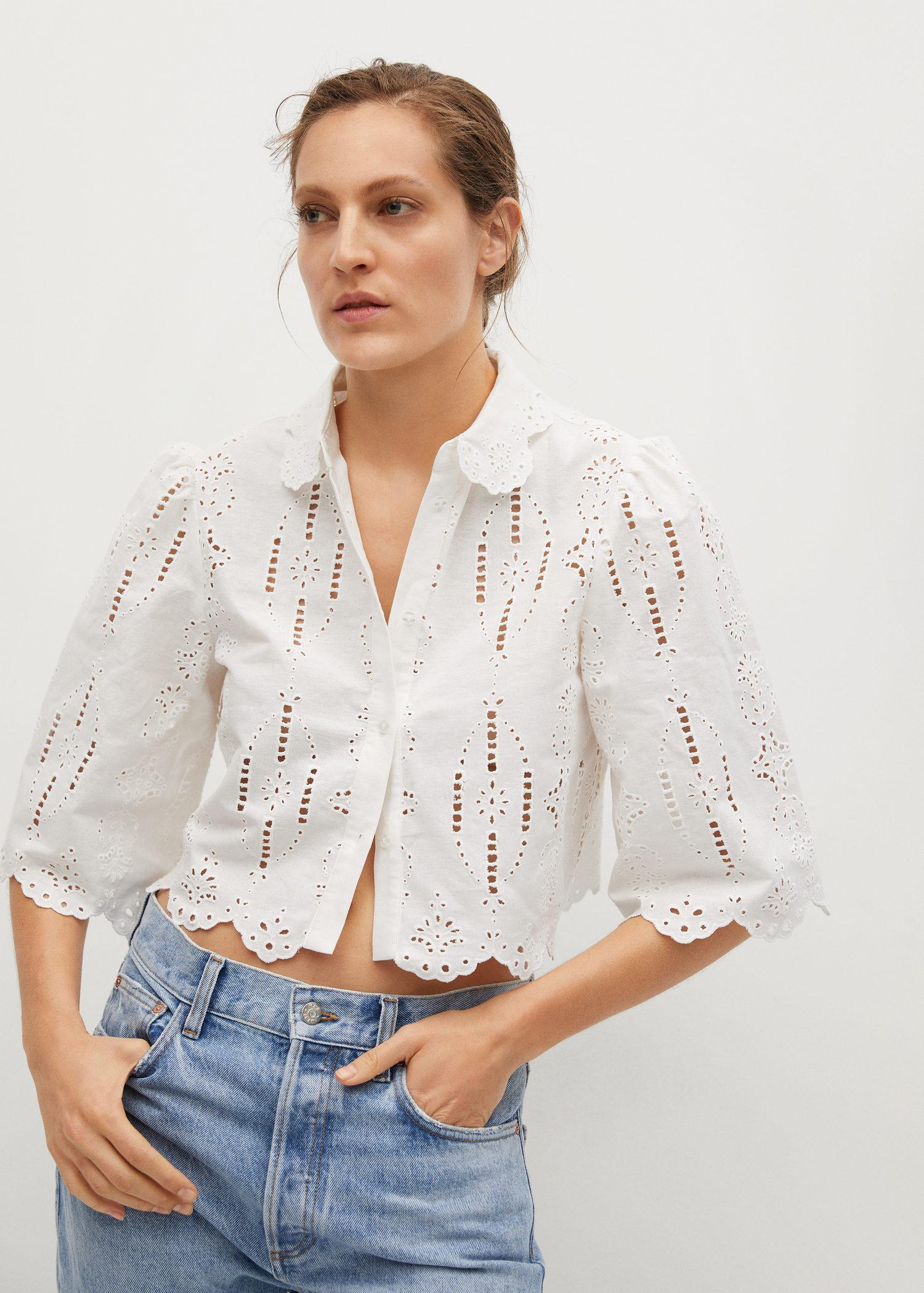 Swiss embroidery linen blouse