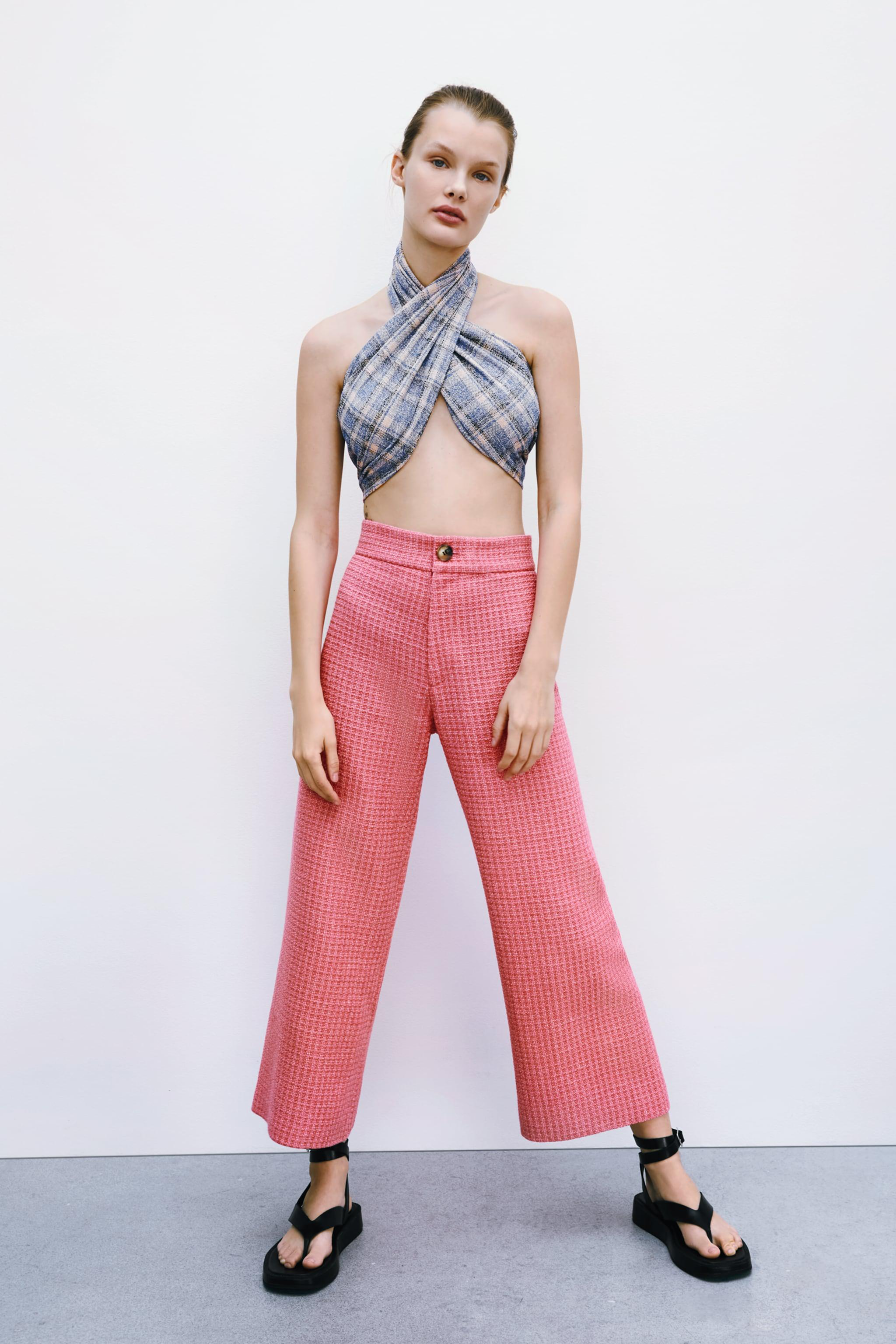 CROPPED FIT TEXTURED PANTS