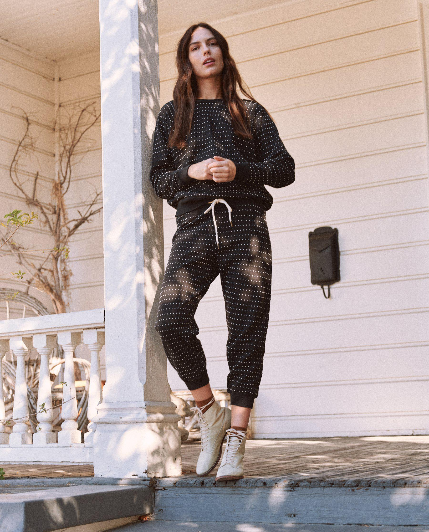 The Swiss Dot Cropped Sweatpant. -- Almost Black